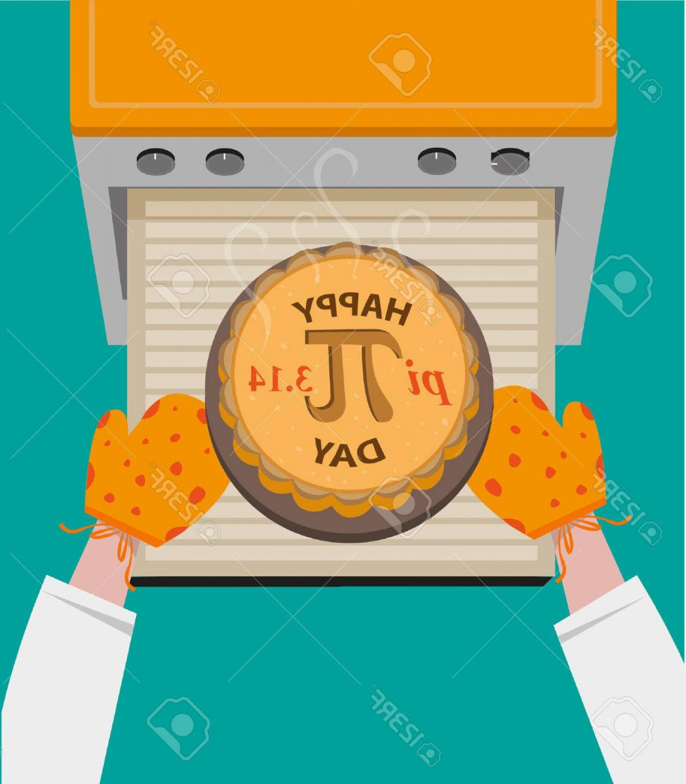 Happy Oven Vector: Photostock Vector Happy Pi Day Concept Observed Every March Baked Pie With Pi Symbol Taken Out From Oven Editable C