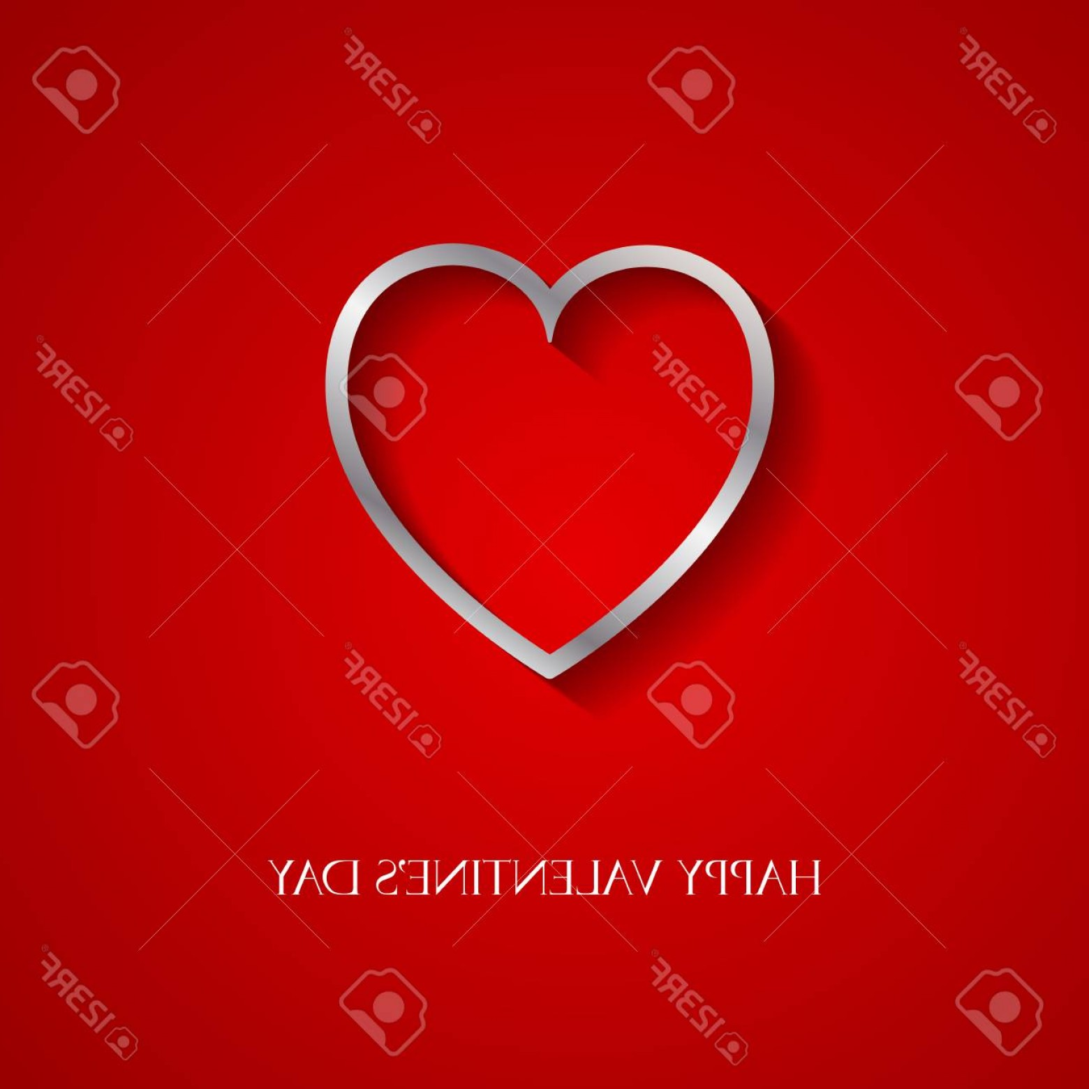 Silver Heart Vector: Photostock Vector Happy Valentine Day Greeting Card With Silver Heart Vector Illustration Of Loving Heart
