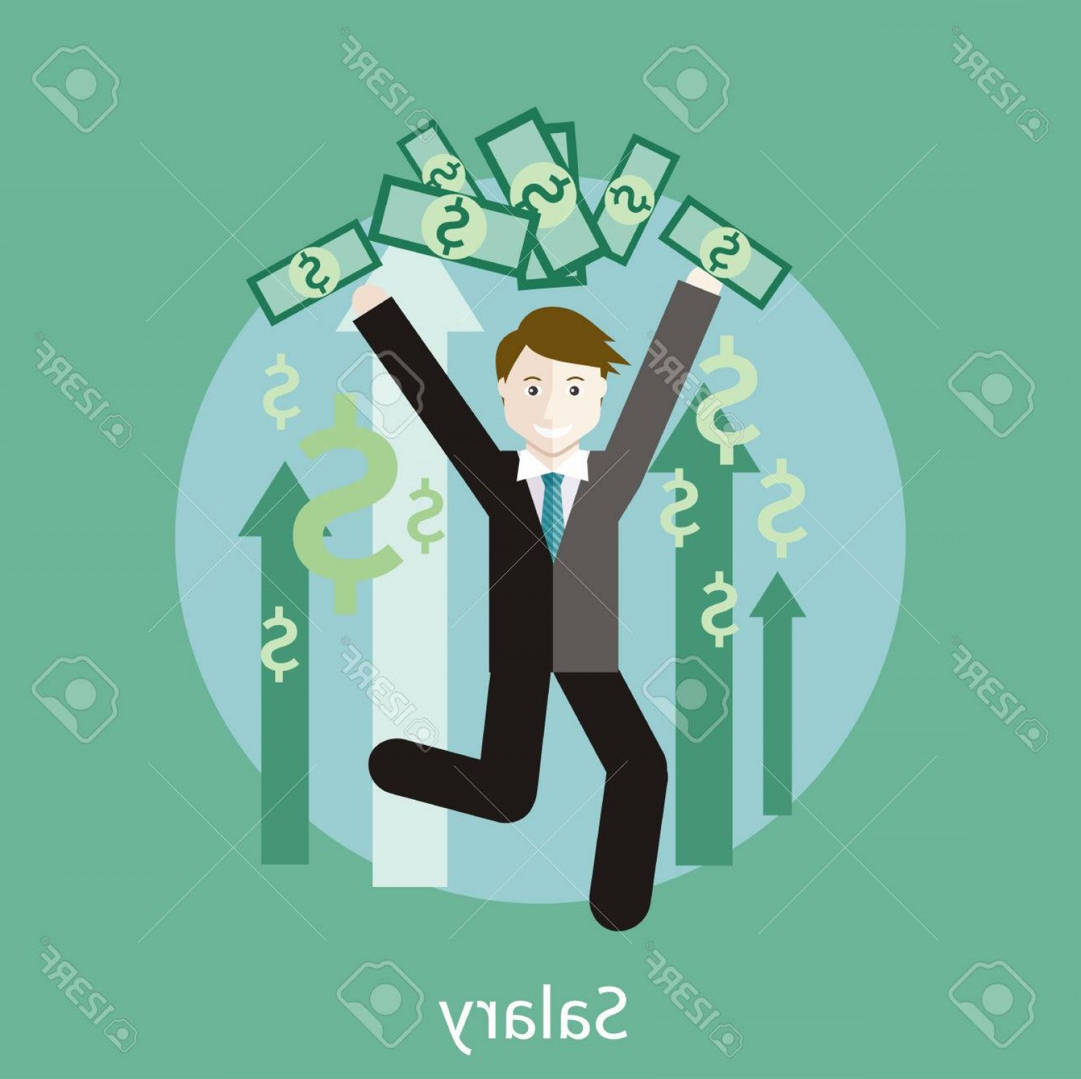 Vector Marketing Salary: Photostock Vector Happy Young Business Man Enjoying Dollar Rain Concept Of Salary In Flat Design Style Can Be Used For