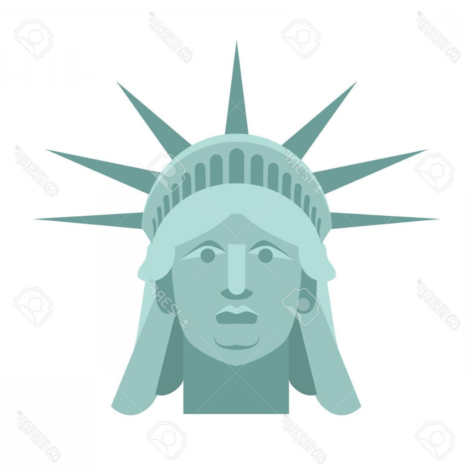 Statue Of Liberty Face Vector: Photostock Vector Head Of Statue Of Liberty Face Sculpture America Monument In Us Architecture National Historic Landm