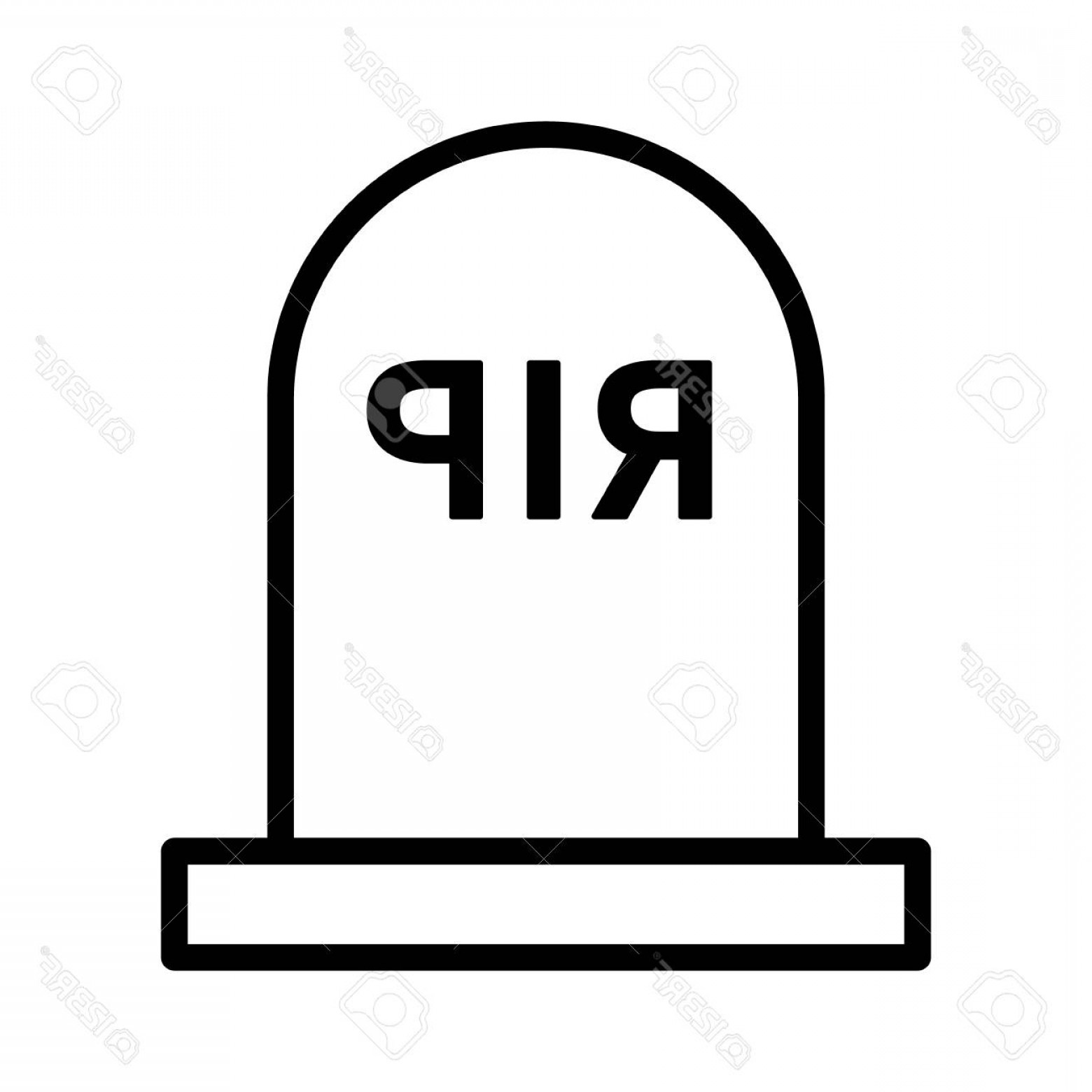 Rip Clip Art Vector: Photostock Vector Headstone Gravestone Tombstone With Rip Rest In Peace For The Dead Line Art Vector Icon For Games An