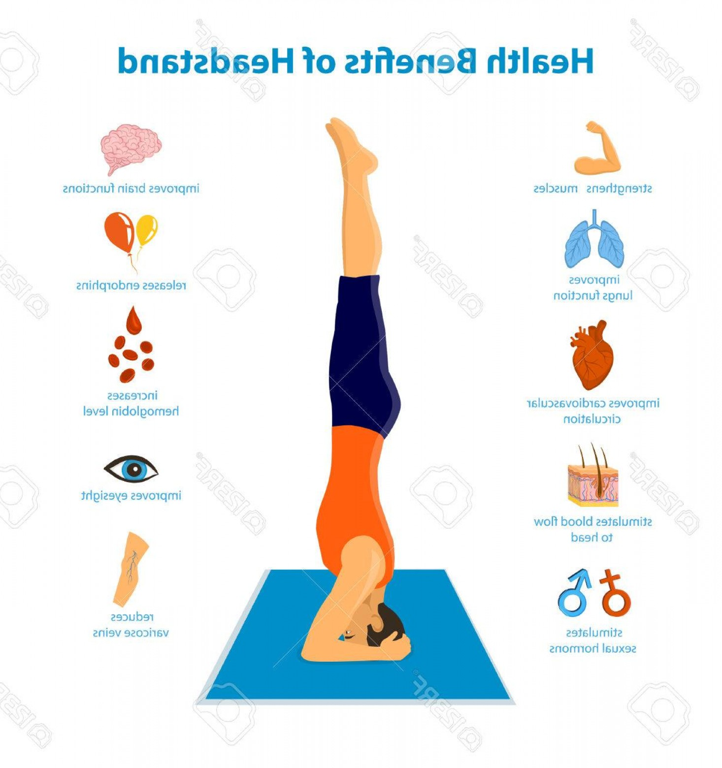Vector Health Benefit: Photostock Vector Health Benefits Of A Headstand Inforgraphics Vector Illustration Man Practicing Headstand Yoga Sirsa