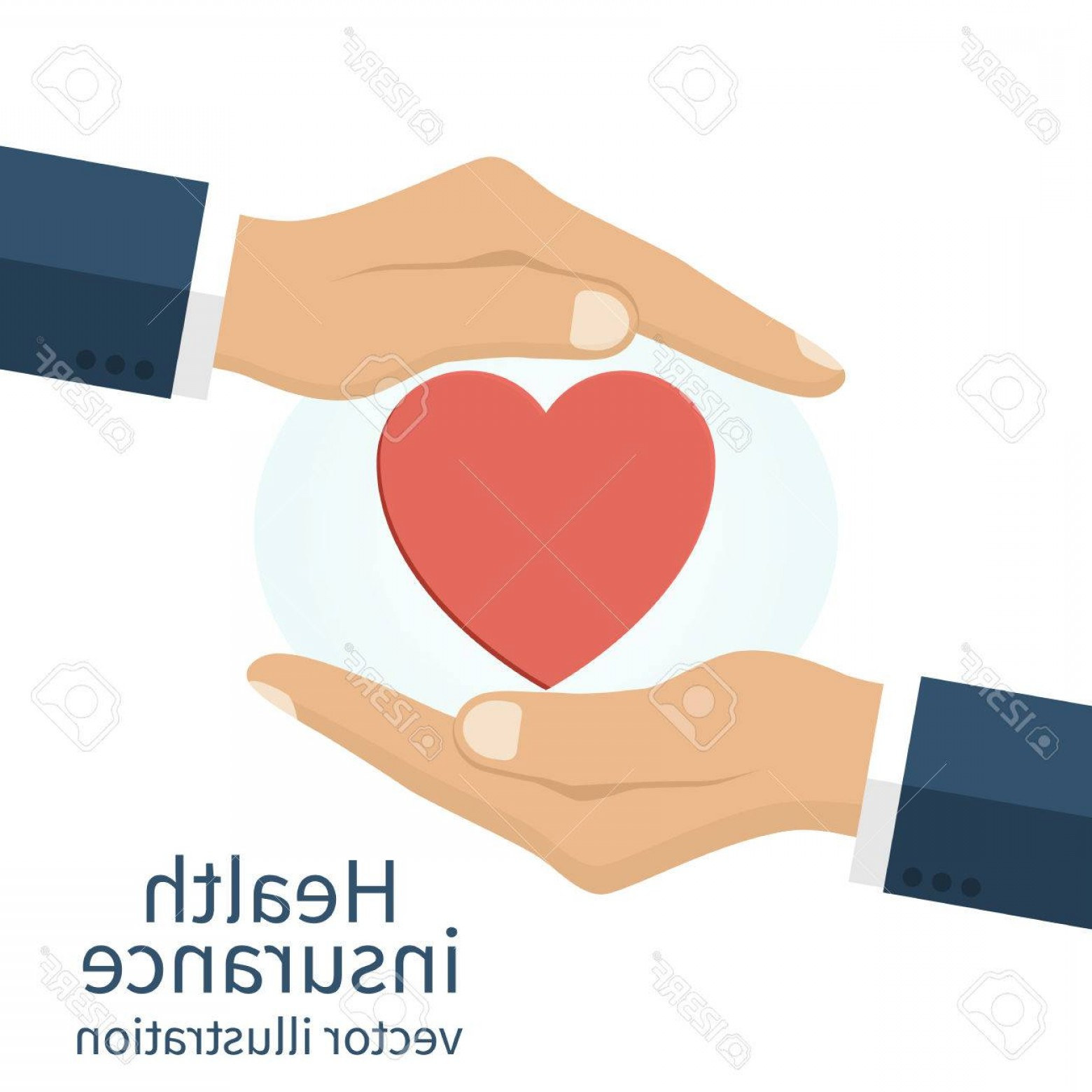 Vector Health Insurance: Photostock Vector Health Insurance Concept Protection Health Care Medical Man Hands Protect The Heart Health Symbol He