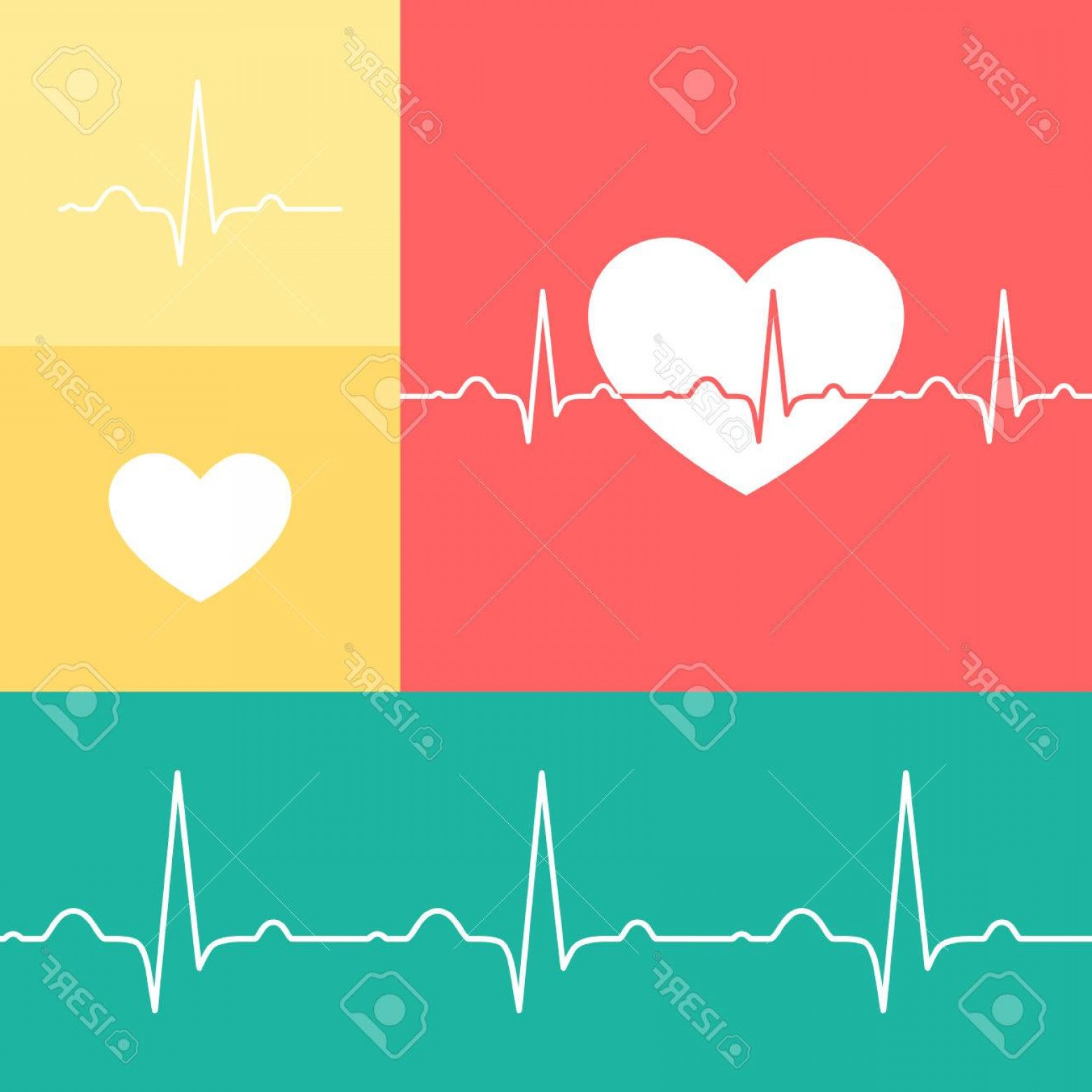 Heart With EKG Line Vector: Photostock Vector Heart And Ekg Line Vector Icons On Red Yellow And Teal Background
