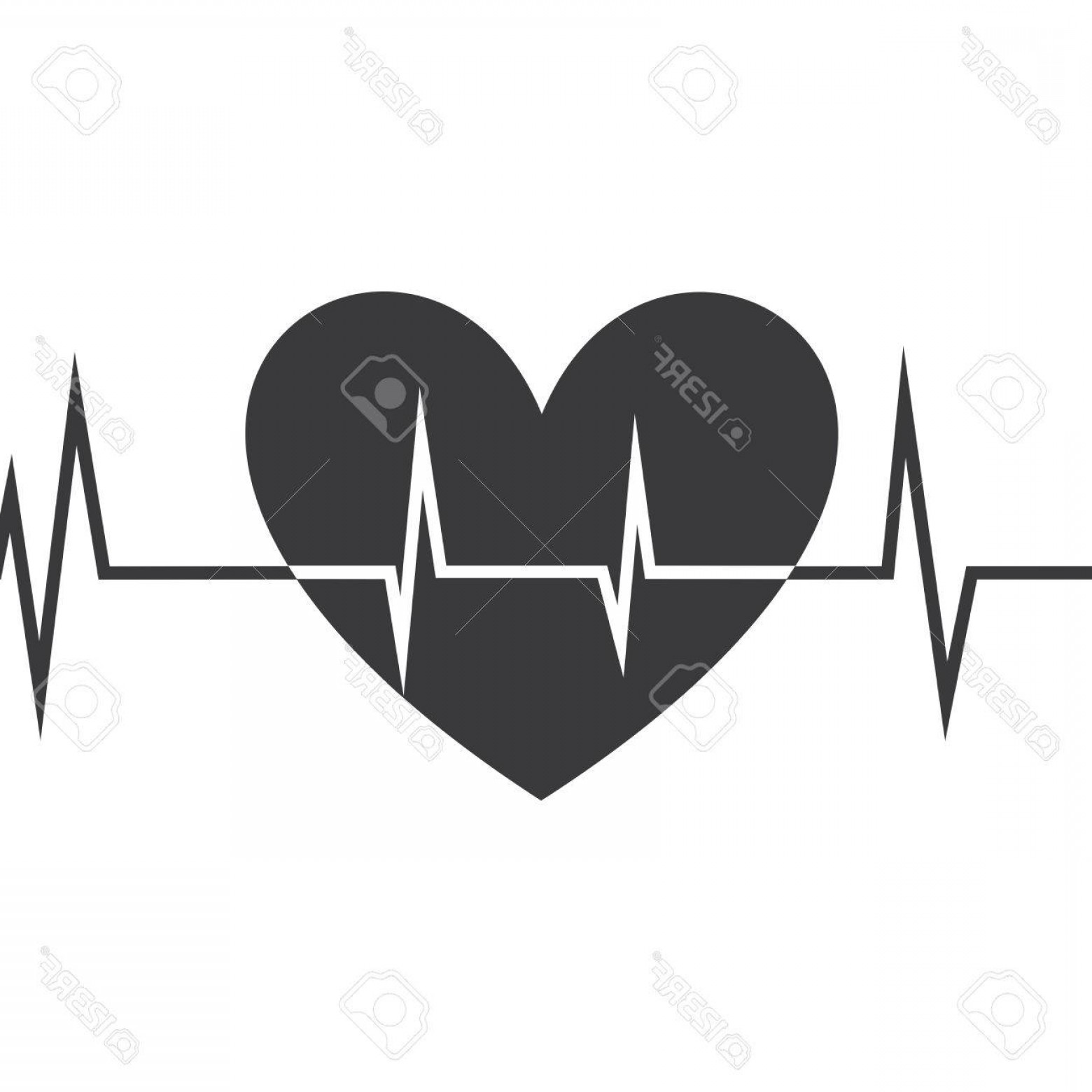 Heart With EKG Line Vector: Photostock Vector Heart Icon With Ekg Line Vector Design