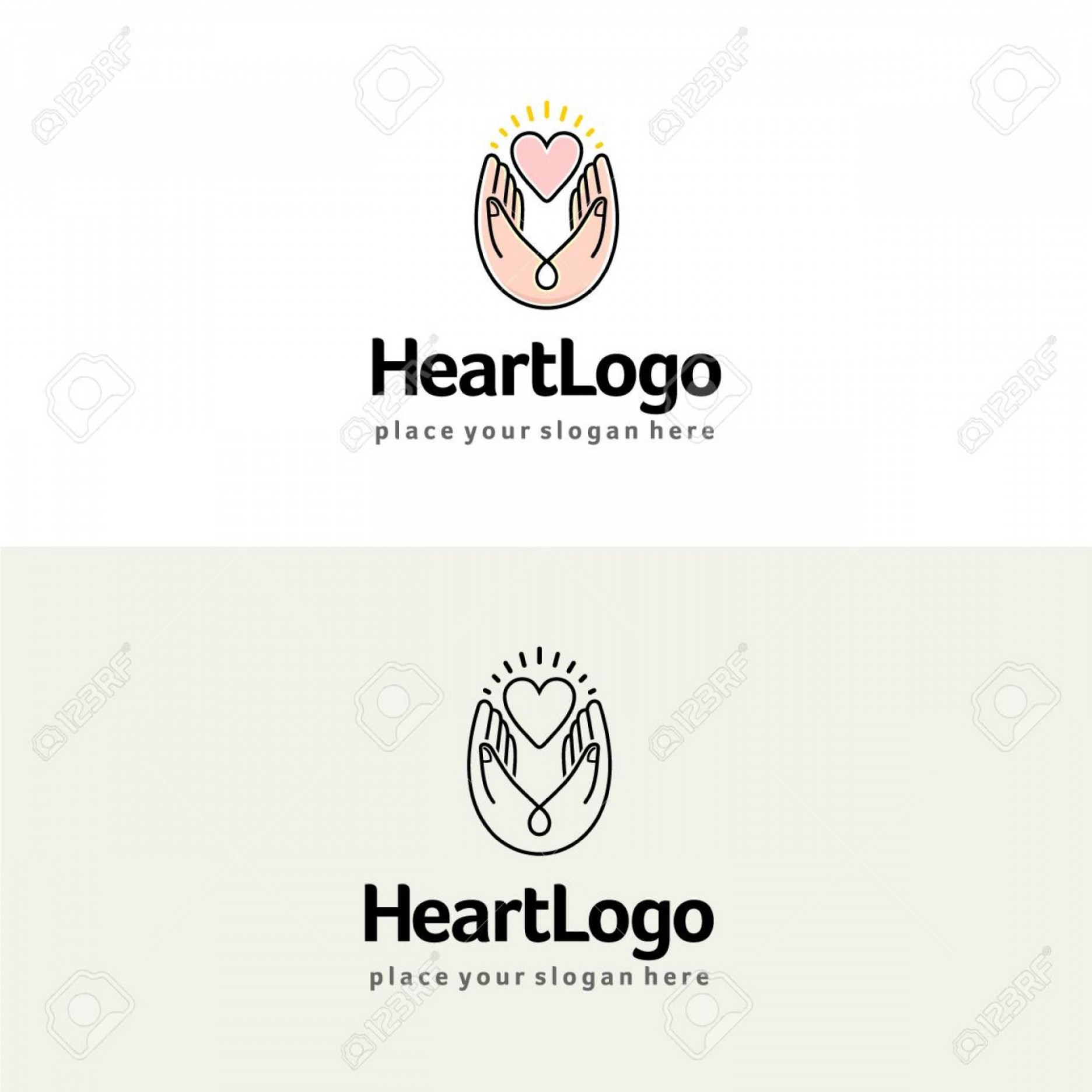 BBB Accredited Logo Vector: Photostock Vector Heart In Hands Vector Logo Charity And Care Illustration