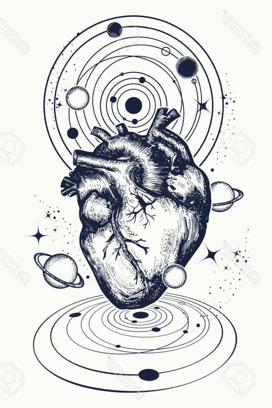 Sacred Heart Vector Genius: Photostock Vector Heart In Space Tattoo Anatomic Heart Among Galaxies And Planets Symbol Of Love Philosophy Psychology