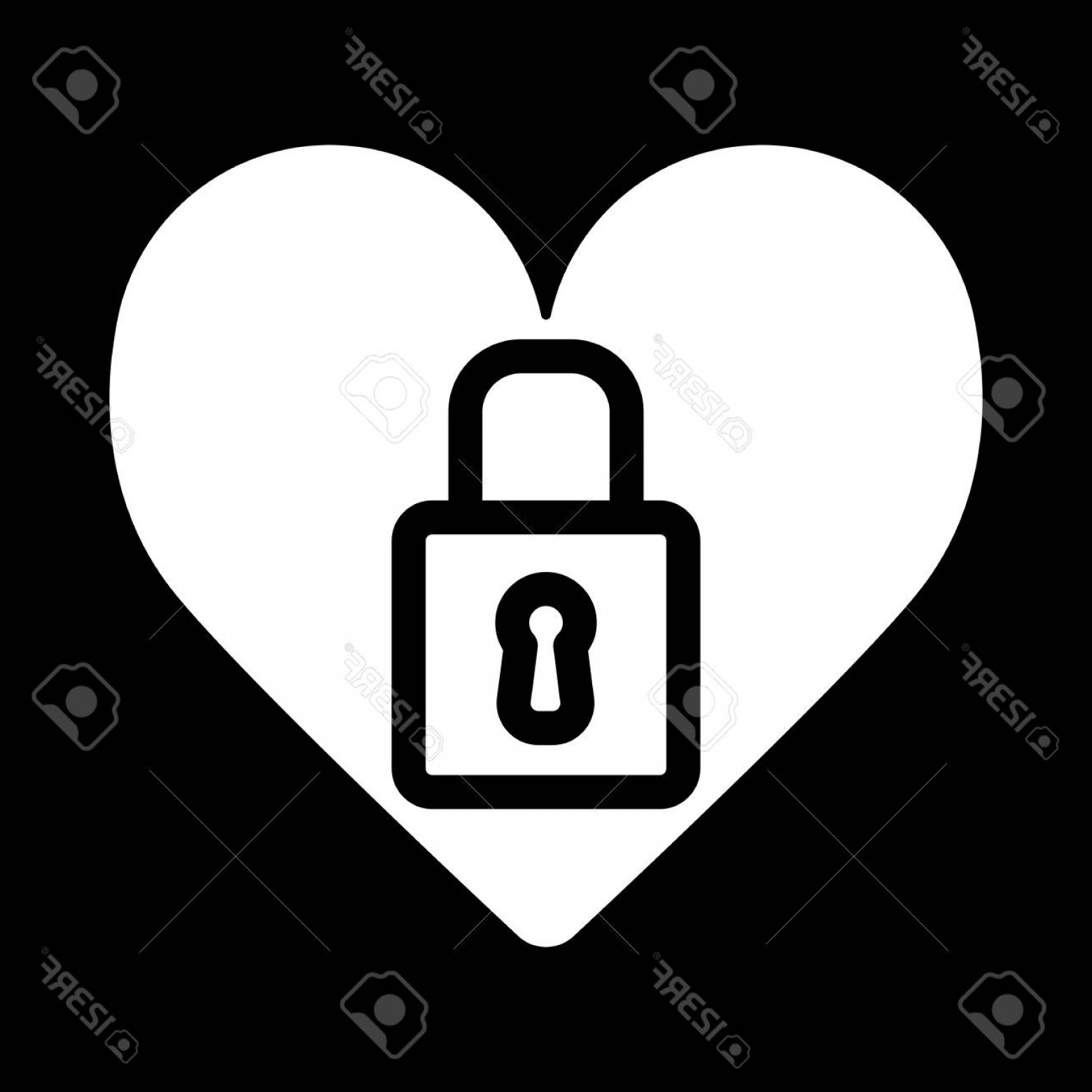 Heart Lock Vector: Photostock Vector Heart Lock Vector Icon Black And White Love Illustration Outline Linear Icon Of Heart