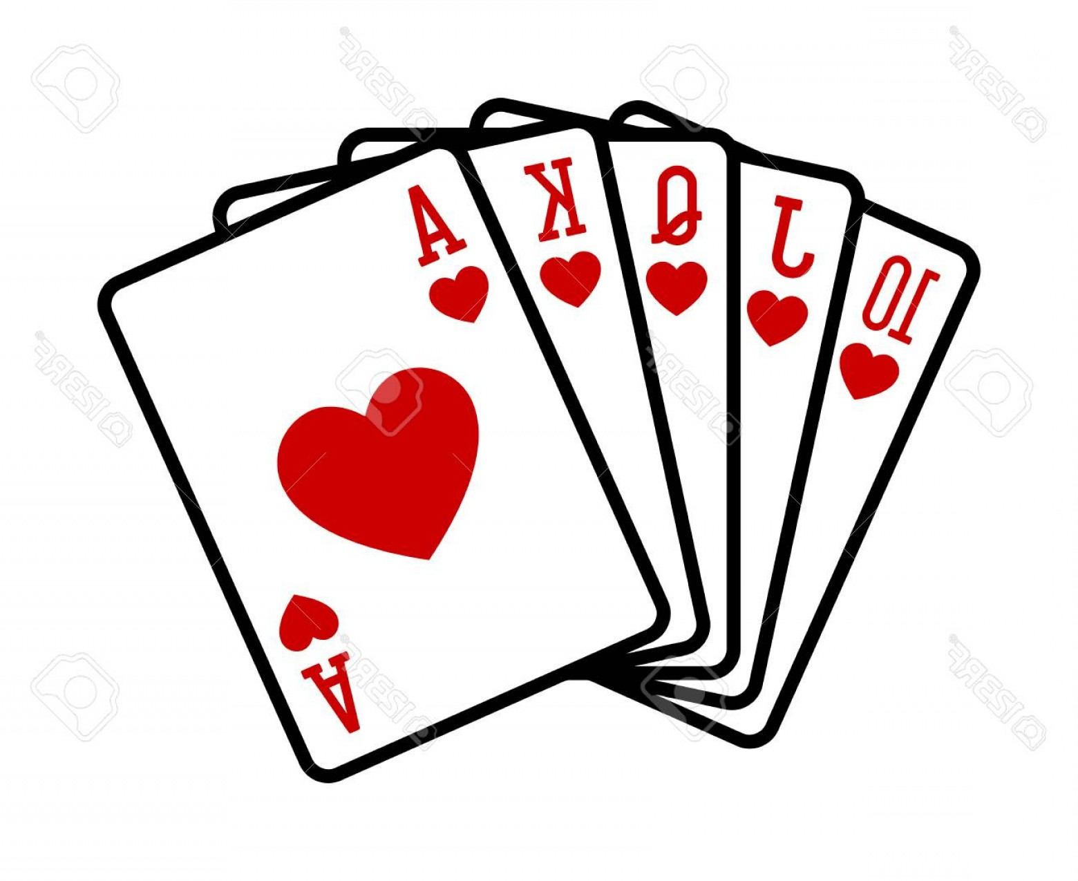 Poker Hand Vector: Photostock Vector Heart Royal Straight Flush Poker Hand Flat Vector Icon For Casino Apps And Websites