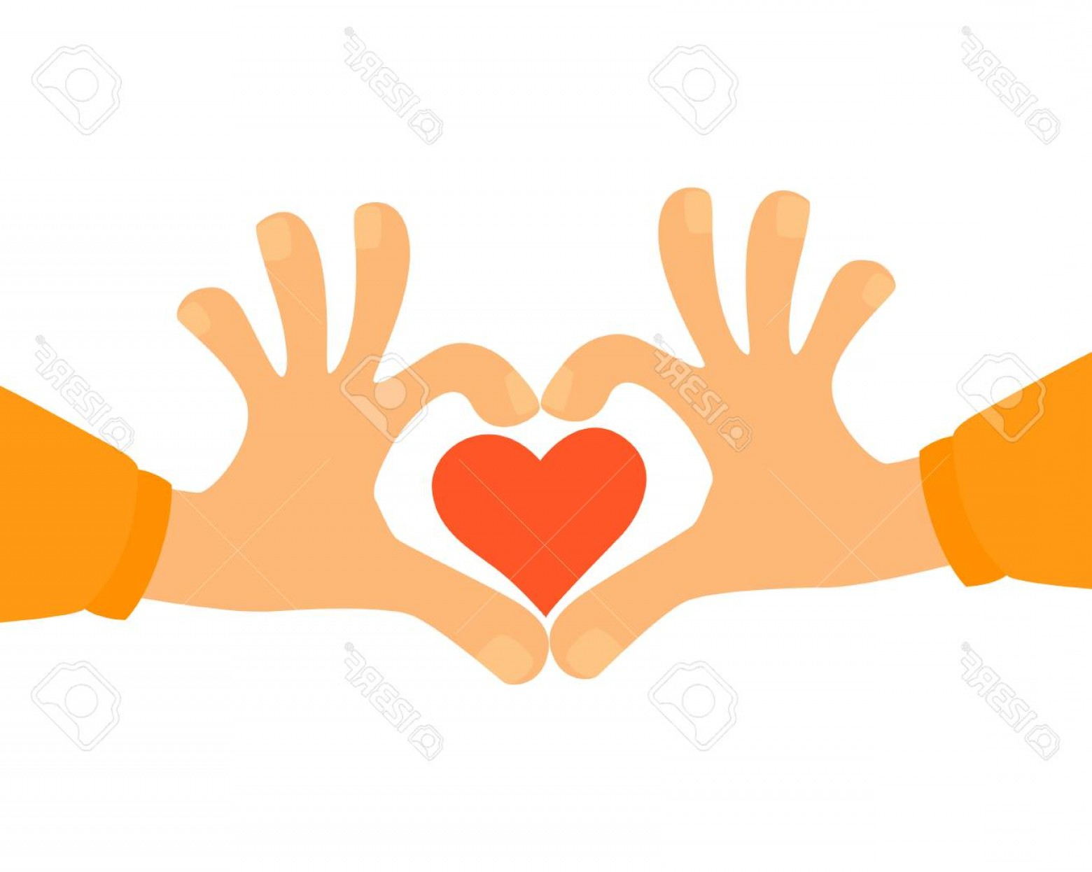 Vector Vector Heart Shaped Hands: Photostock Vector Heart Shape Made With Hands Vector Illustration