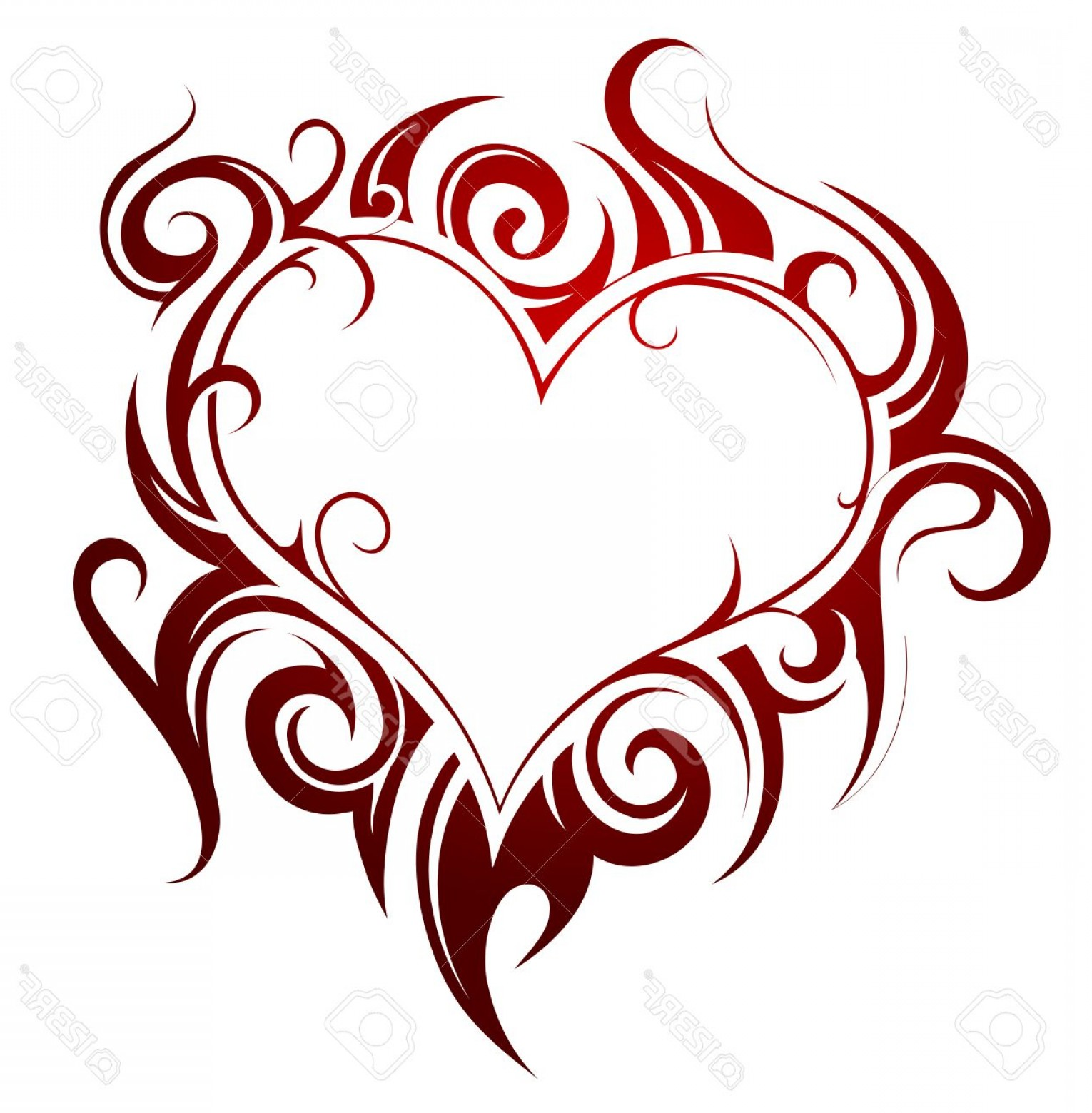 Love Heart Swirl Vector: Photostock Vector Heart Shape Tattoo With Fire Swirls