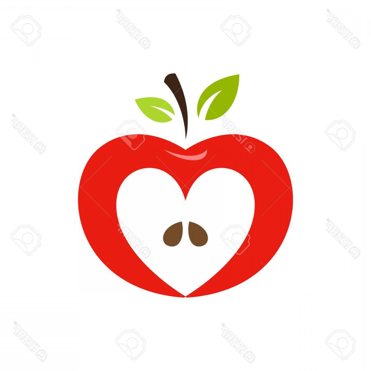 Red Apple Vector Logo: Photostock Vector Heart Shaped Apple Vector Logo Label Emblem Design