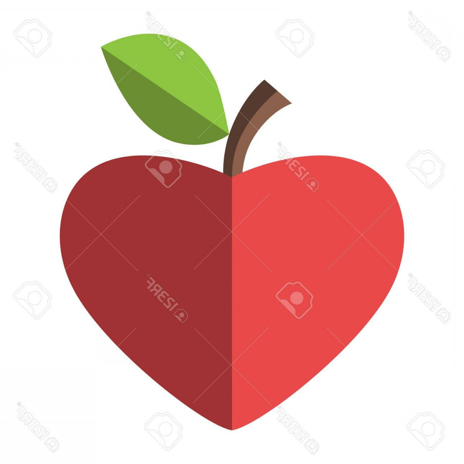 Red Apple Vector Logo: Photostock Vector Heart Shaped Red Apple Health Healthy Eating Fruit And Love Concept