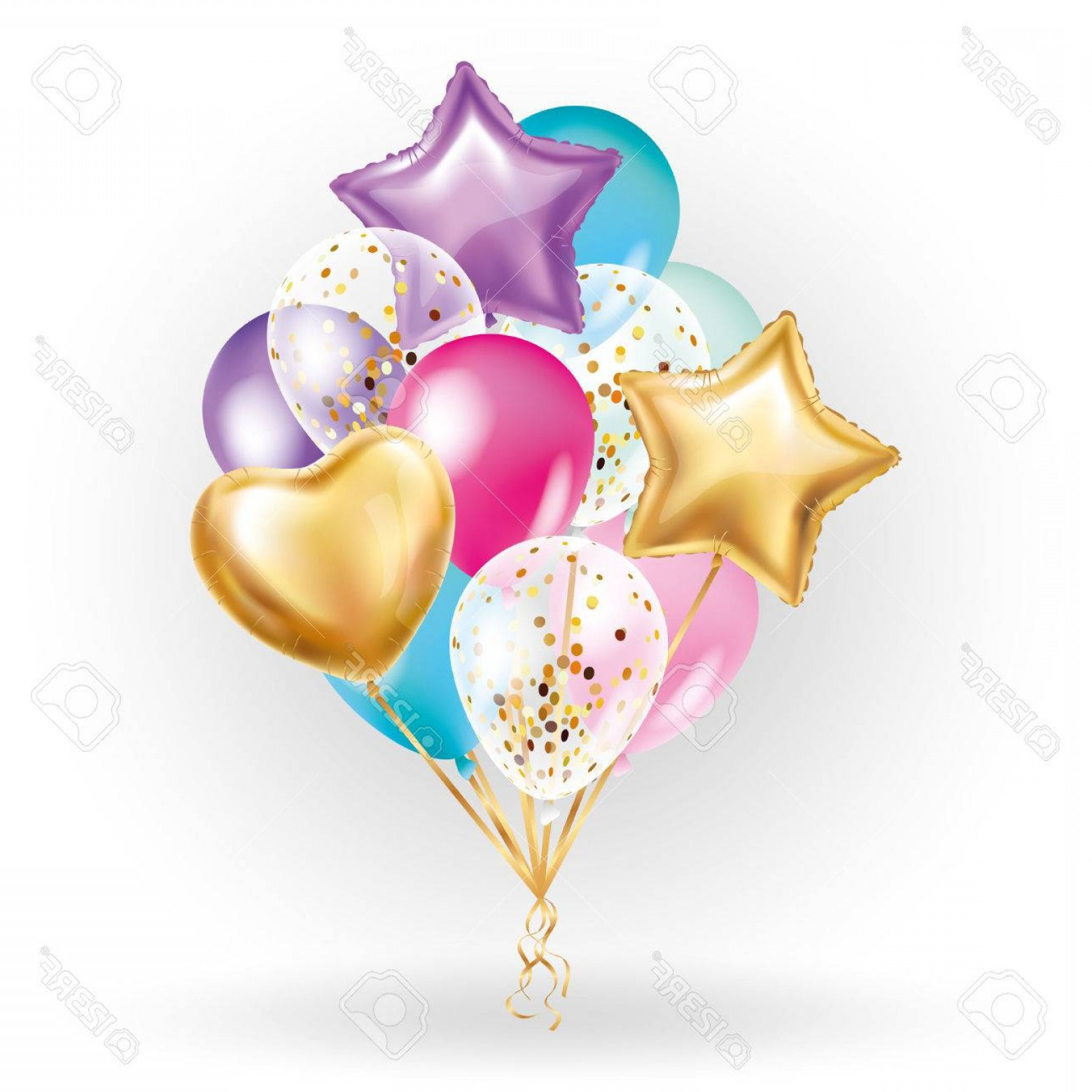 Vectors Heart And Star: Photostock Vector Heart Star Gold Balloon Bouquet Frosted Party Balloons Event Design Balloons Isolated In The Air Par