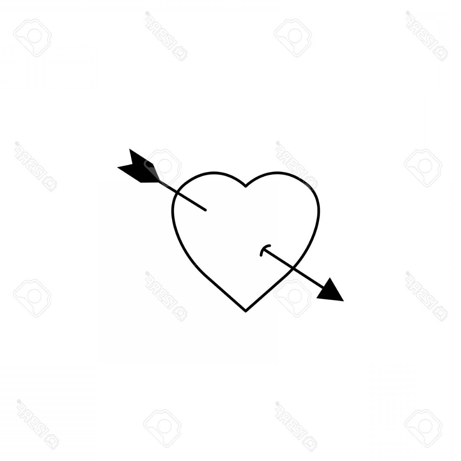Solid Heart Vector Drawing: Photostock Vector Heart With Arrow Solid Icon Love Sign Valentine S Day Love Concept Vector Graphics A Filled Pattern