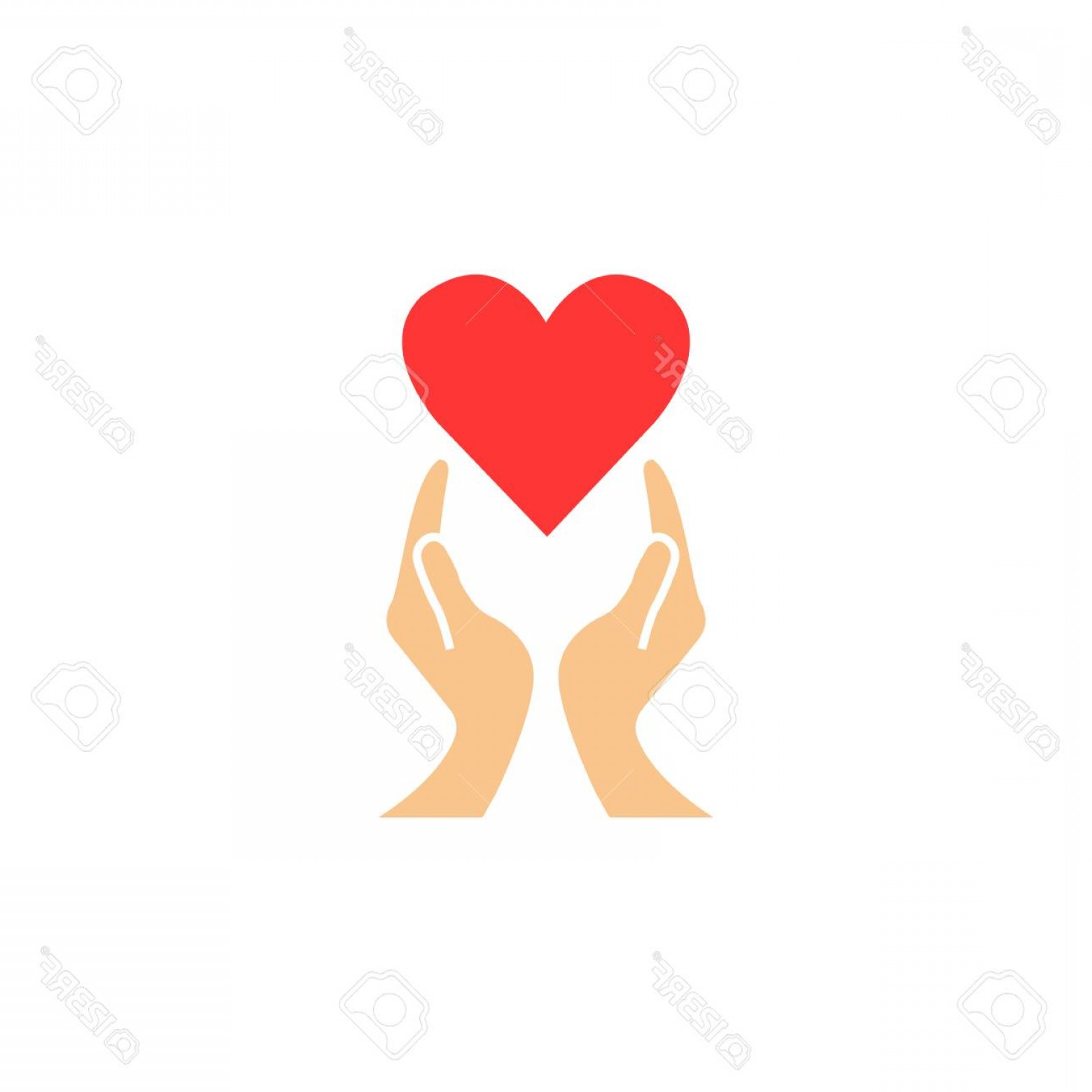 Solid Heart Vector Drawing: Photostock Vector Heart With Hands Solid Icon Healtcare Sign Vector Graphics A Colorful Linear Pattern On A White Back