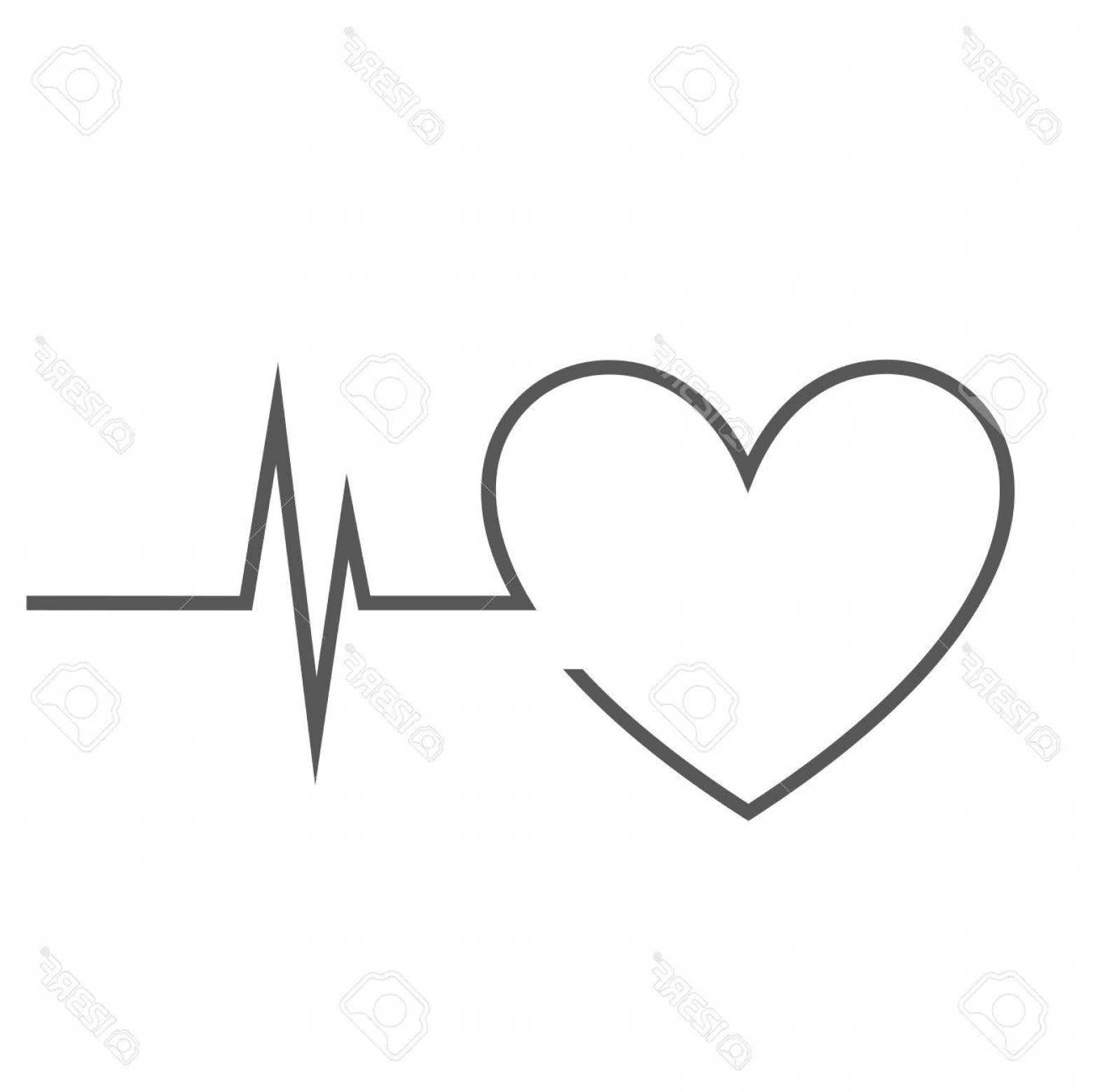 Heart With EKG Line Vector: Photostock Vector Hearth With Ekg Line On White Background Vector Illustration