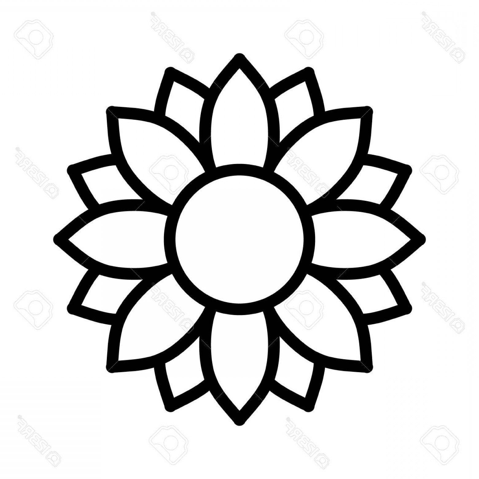 Icon Of Flower Vectors: Photostock Vector Helianthus Or Sunflower Blossom Line Art Vector Icon For Flower Apps And Websites