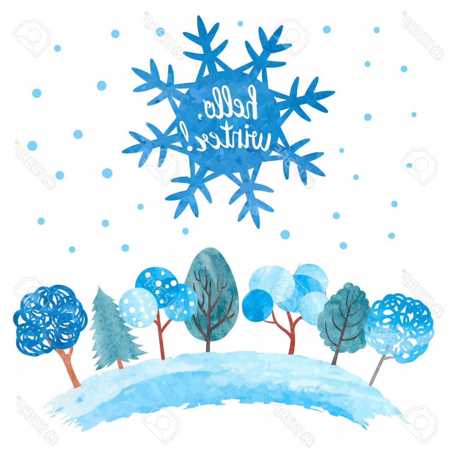 Free Winter Vector: Photostock Vector Hello Winter Vector Illustration Watercolor Snowflake And Trees In Blue Colors Christmas Background