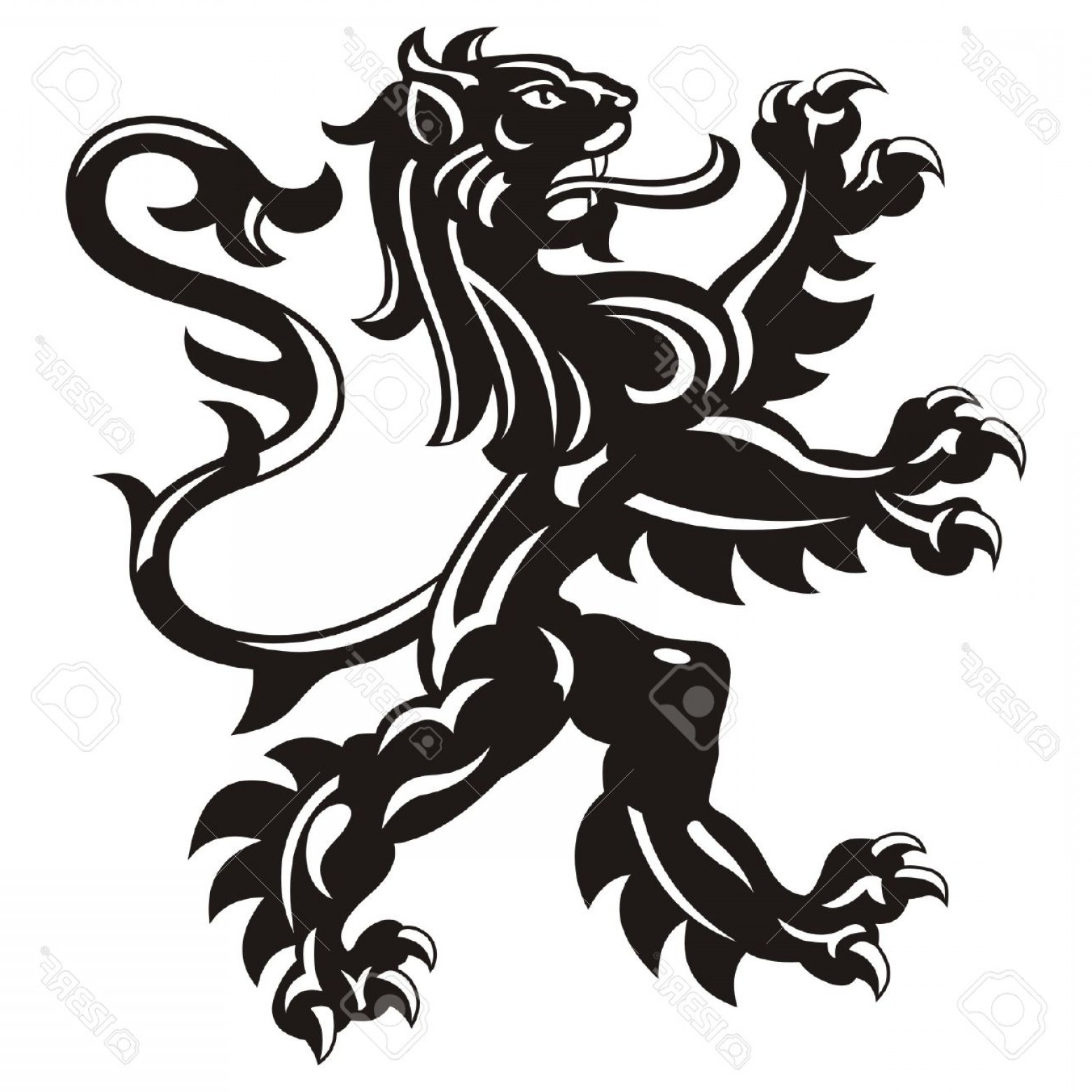Scotland Heraldic Vector Graphic: Photostock Vector Heraldic Lion Tattoo Vector