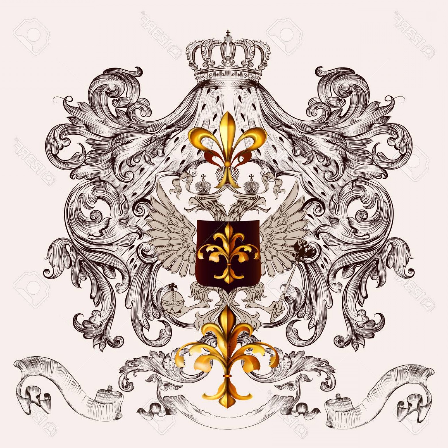 Heraldic Vector Ornaments: Photostock Vector Heraldic Vector Design With Shield Eagle Coat Of Arms And Ornaments
