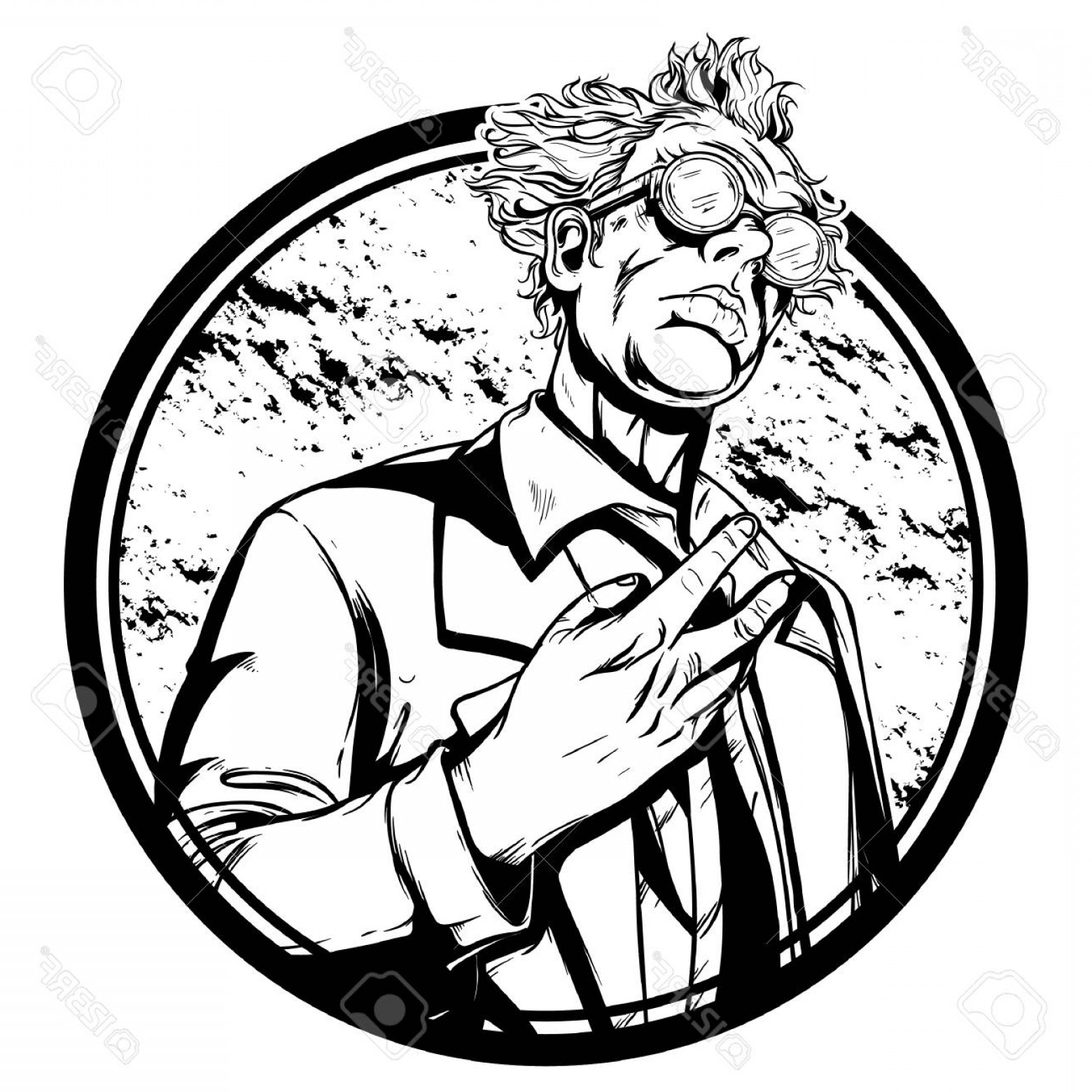 Mad Vector: Photostock Vector High Detailed Mad Scientist Illustration Vector