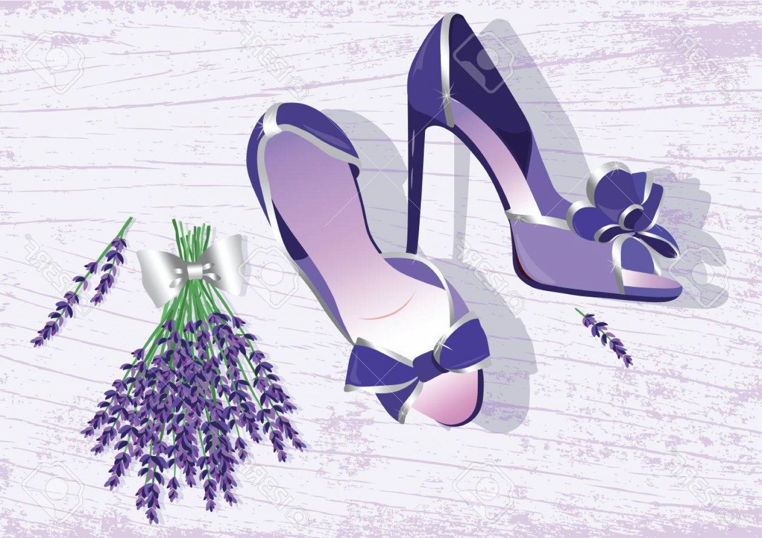 Silhouette Hee High Vector Lsitleetios: Photostock Vector High Heels Shoes Lavender Shoes Vector