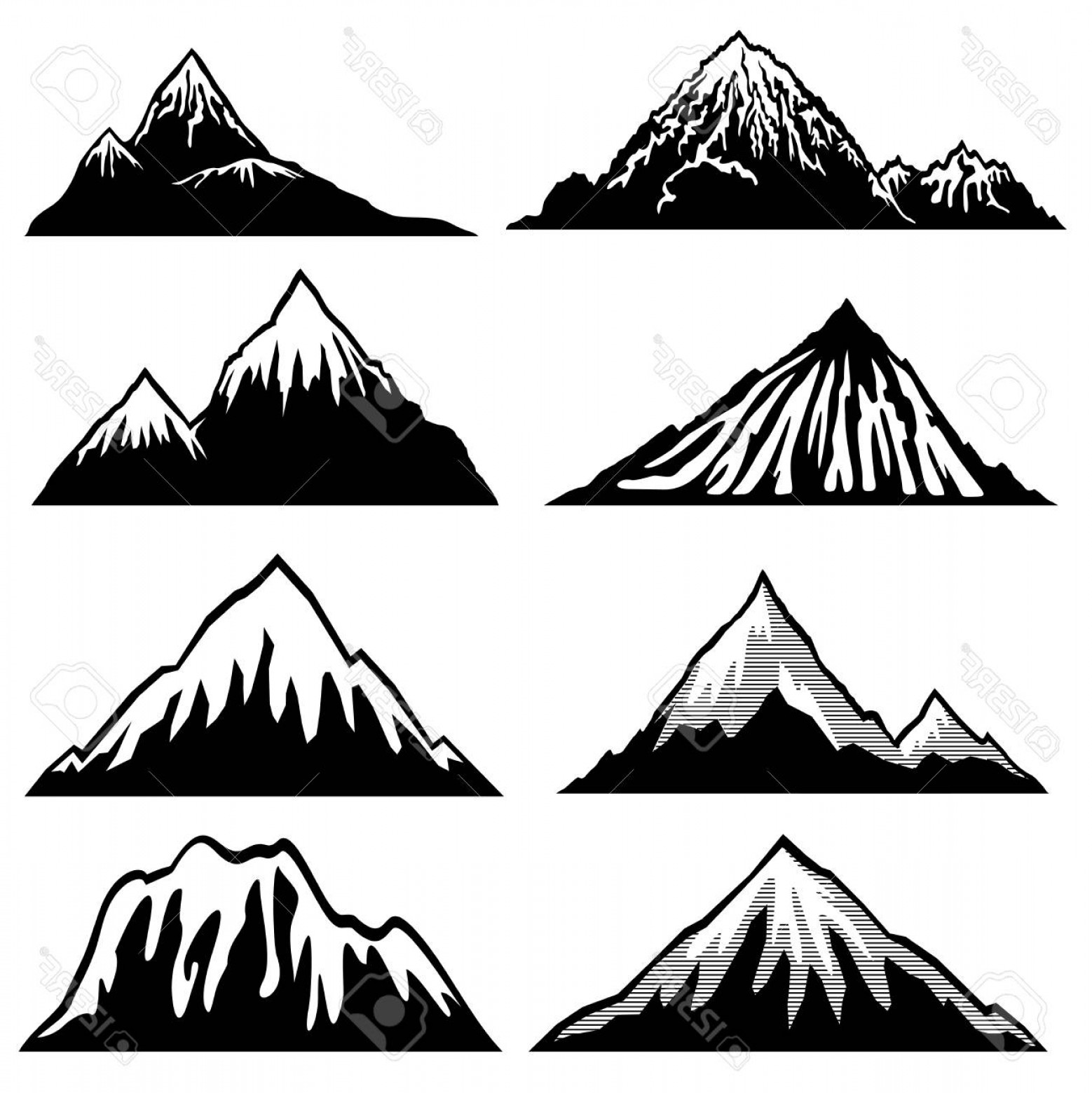White Mountain Silhouette Vector Free: Photostock Vector Highlands Mountains Vector Silhouettes With Snow Capped Peaks And Hillsides Snow Mountain Summit Ill