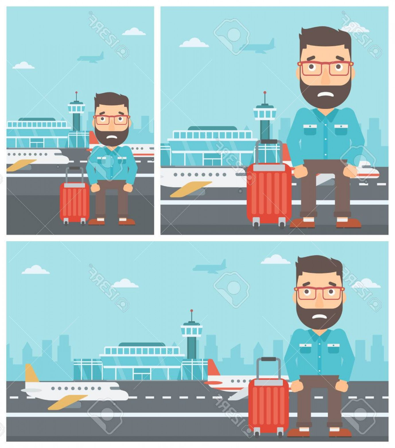 Fear The Beard Vector: Photostock Vector Hipster Man With The Beard Frightened By Future Flight Young Man Suffering From Fear Of Flying Phobi