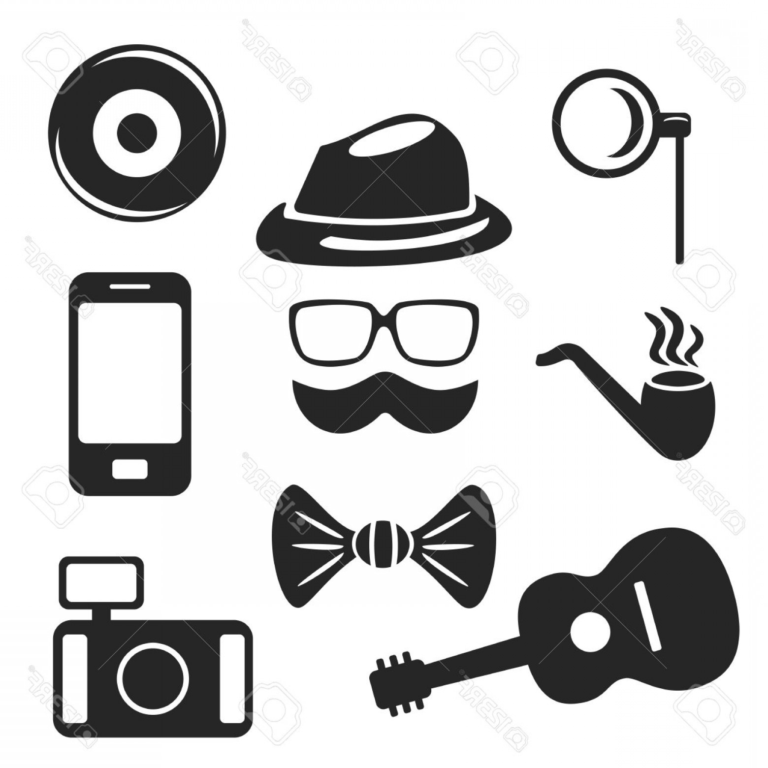 Free Vector Hipster: Photostock Vector Hipster Web And Mobile Icons Set Vector Symbols Of Pipe Camera Guitar Etc