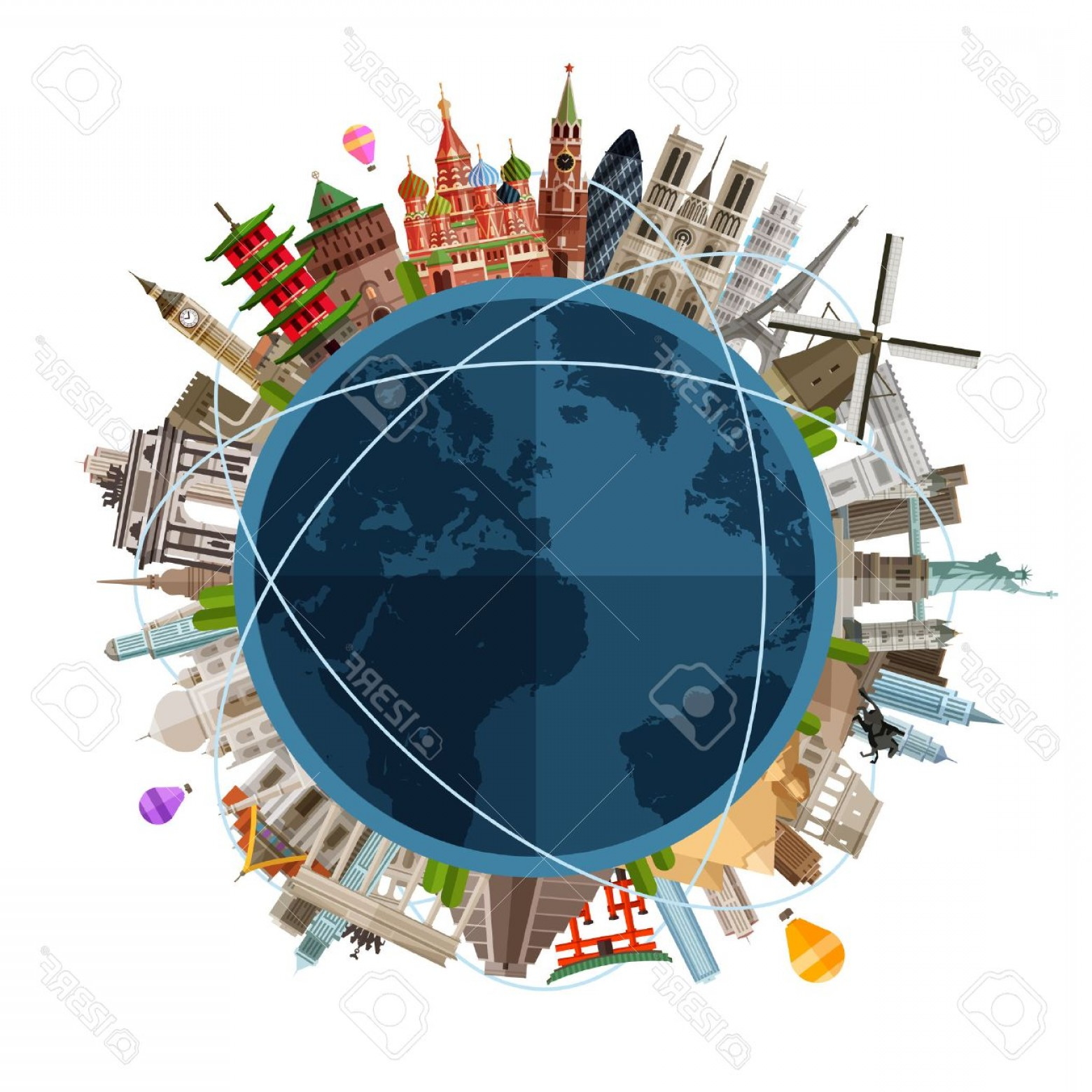 Vector Globe Countries: Photostock Vector Historic Architecture Of The Countries On The Globe In A Circle Vector Flat Illustration