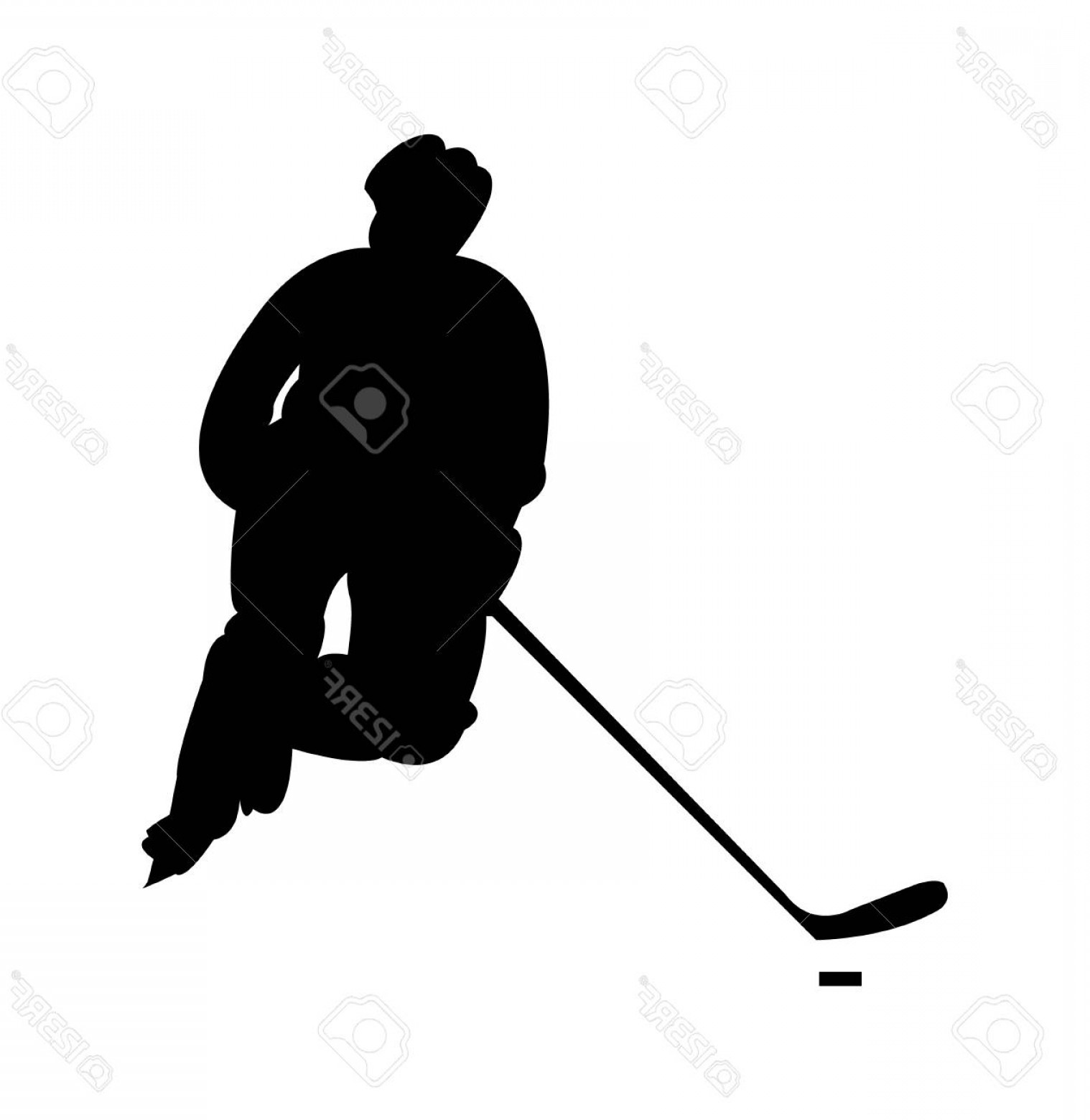 Hockey Player Silhouette Vector: Photostock Vector Hockey Player Silhouette Vector Illustration Isolated On White Background