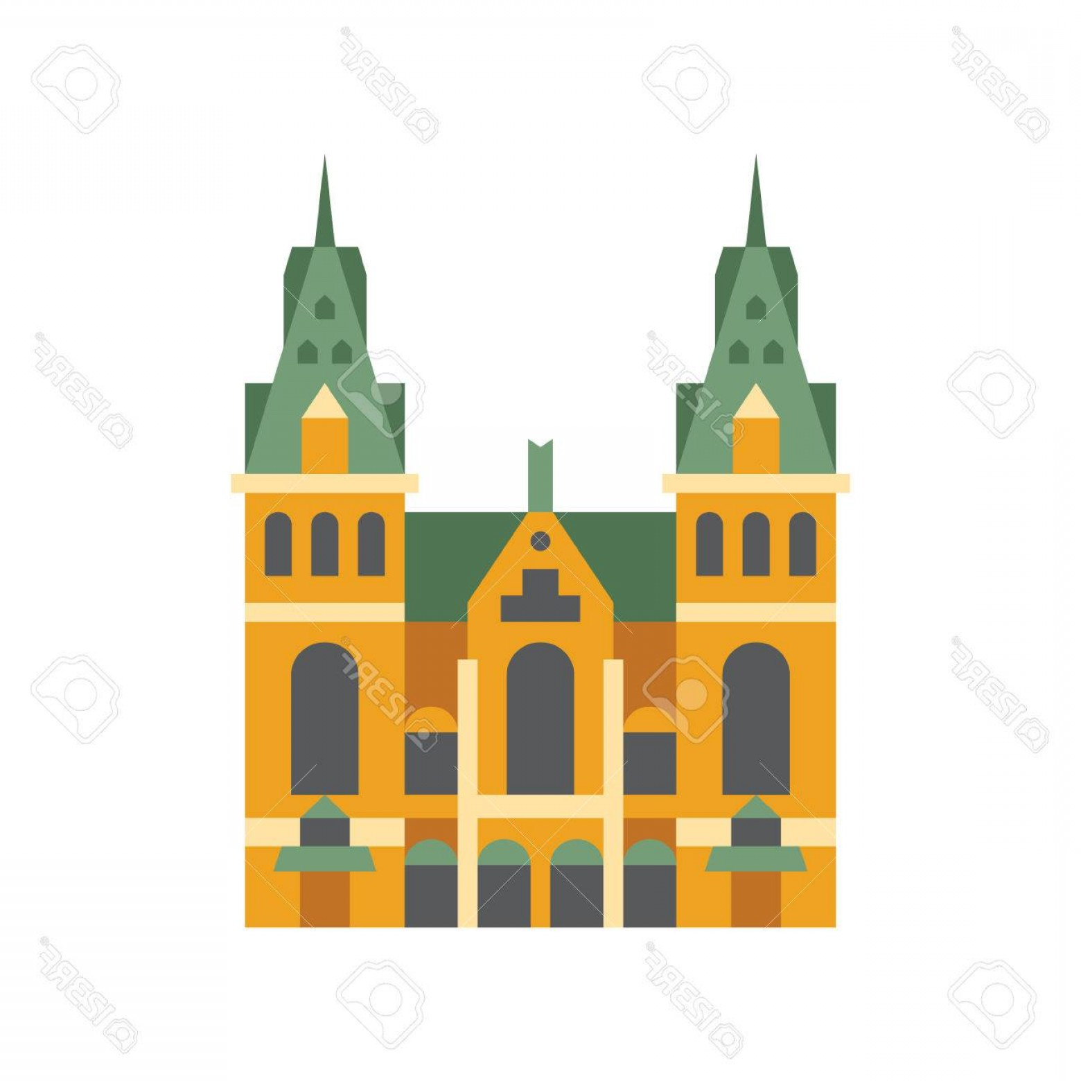 Belgium Theatre Vector Icons: Photostock Vector Holandaise City Hall Building Flat Bright Color Primitive Drawn Vector Icon Isolated On White Backgr