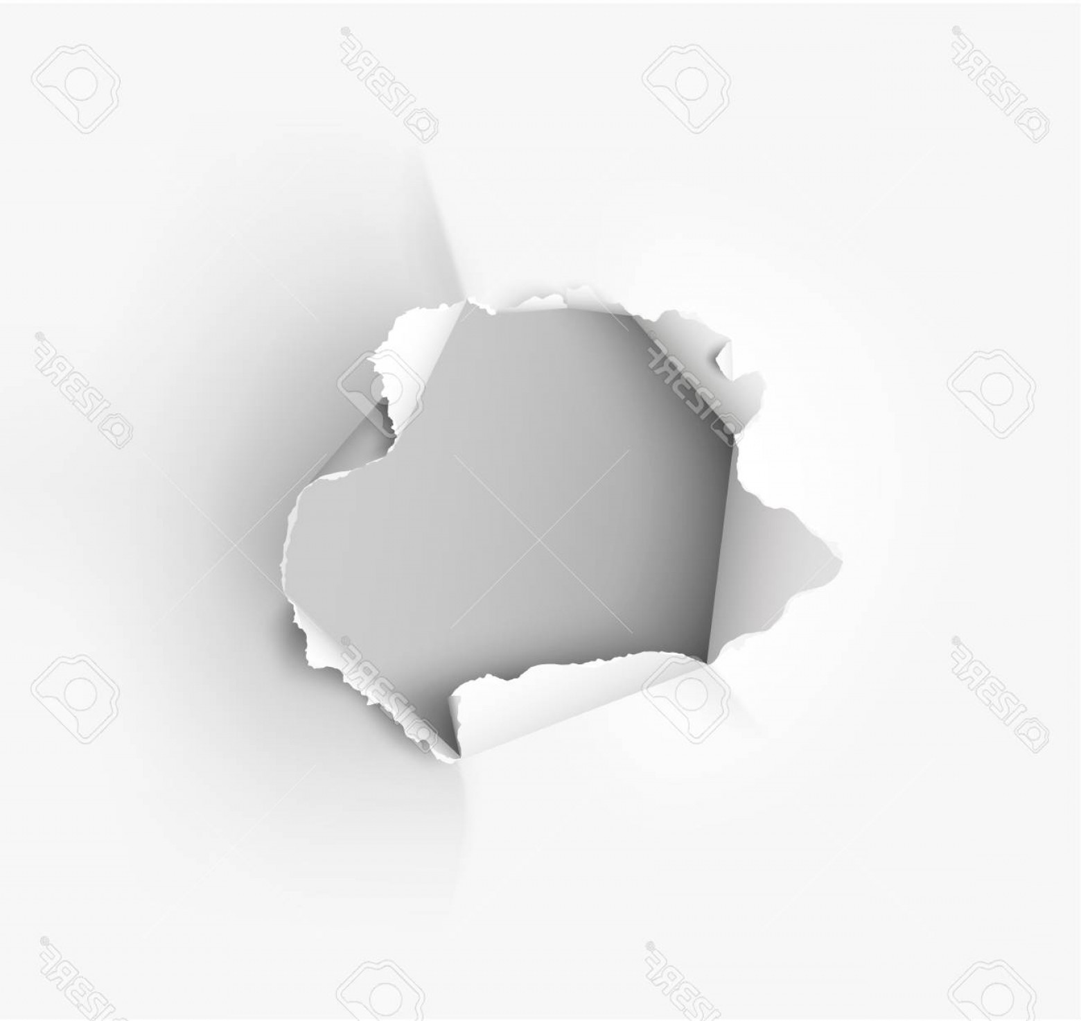Ripped Black And White Vector: Photostock Vector Hole Torn In Ripped Paper On White Background