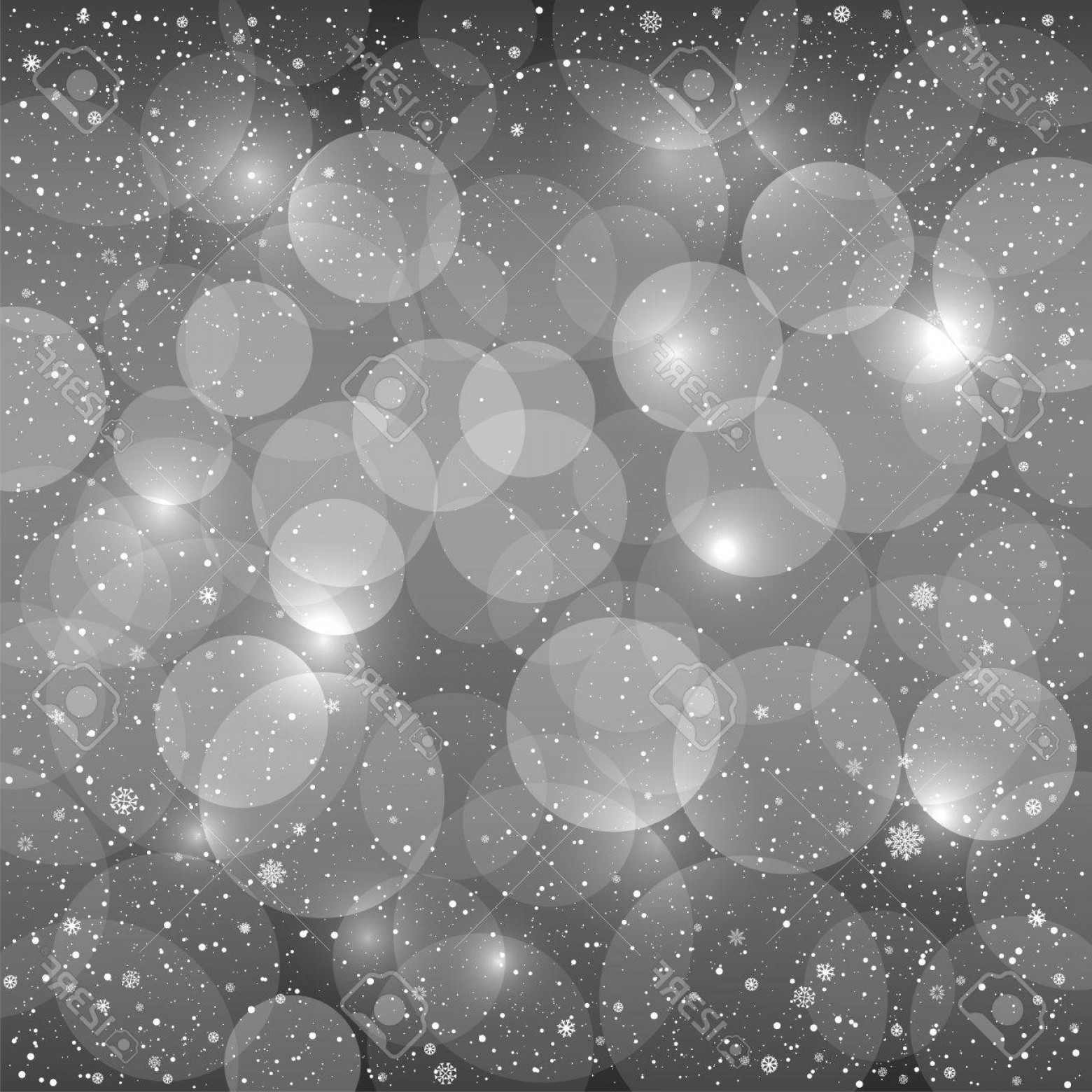 Vector-Based Grayscale Christmas: Photostock Vector Holiday Gray Snow Background With Sparkle Black And White Bokeh Circles Christmas And New Year Grays