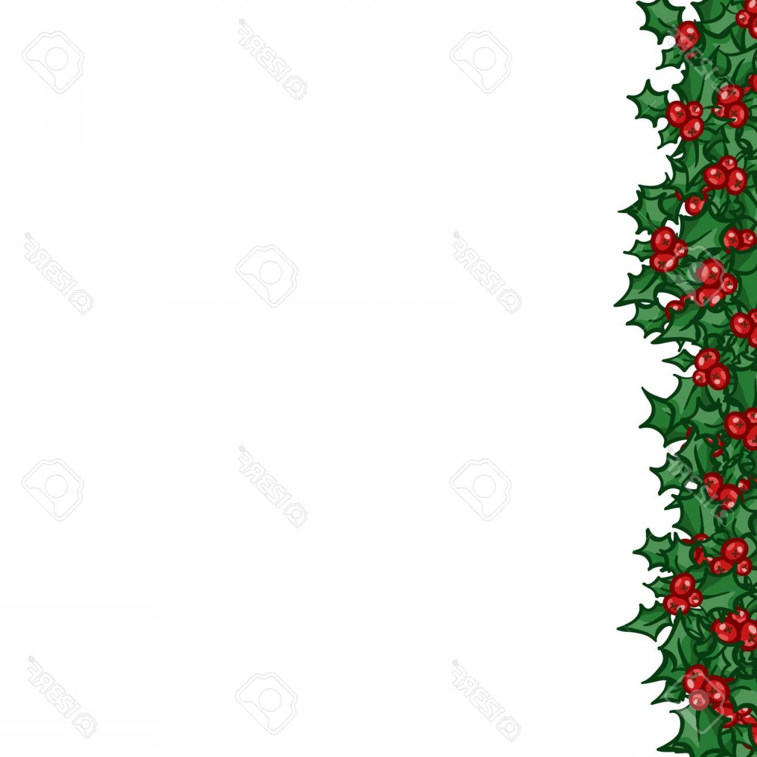 Christmas Holly Border Vector: Photostock Vector Holly With Berry Left Side Border Vector Christmas And New Year Design Element