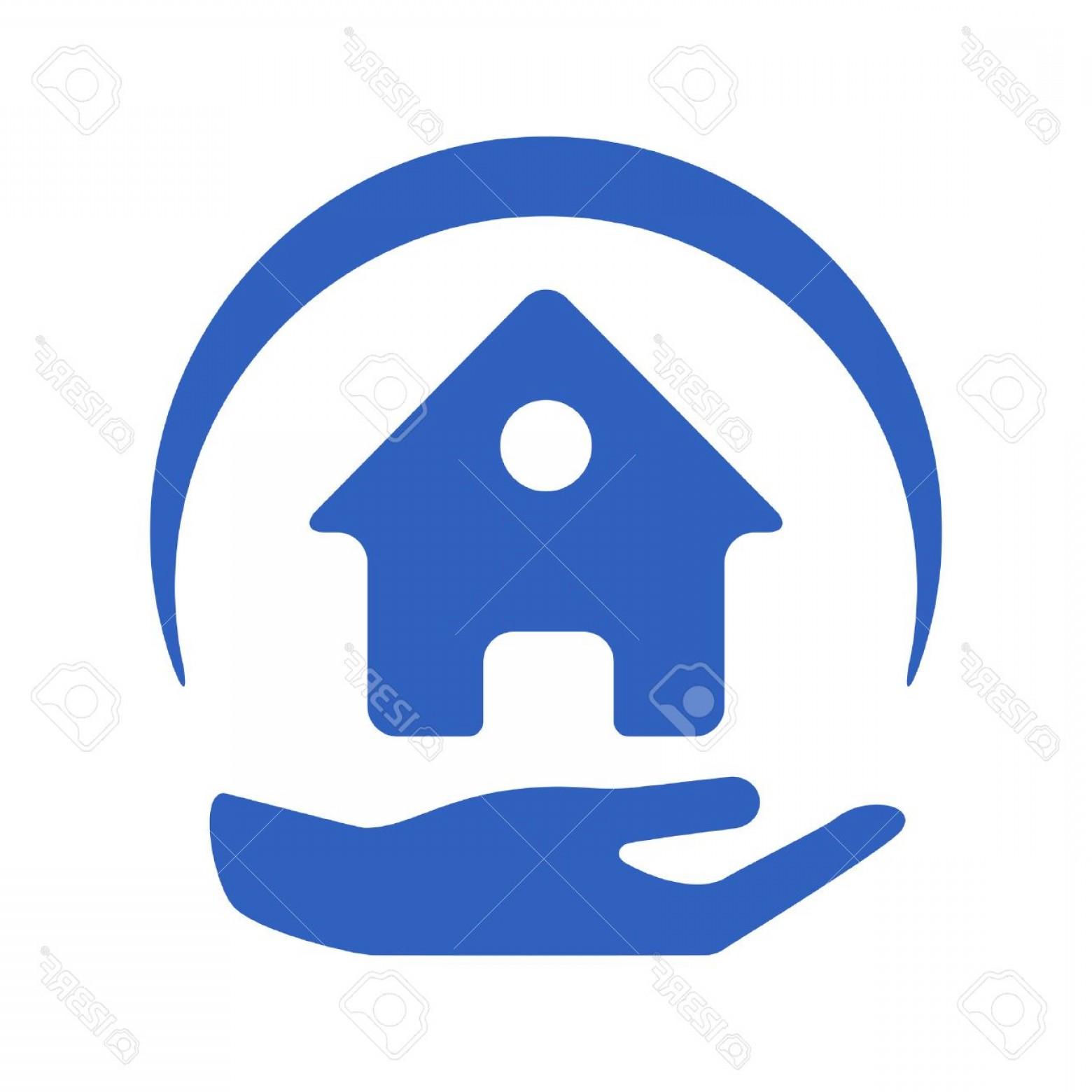 Vector Insurance: Photostock Vector Home Insurance Vector Logo With House And Hands