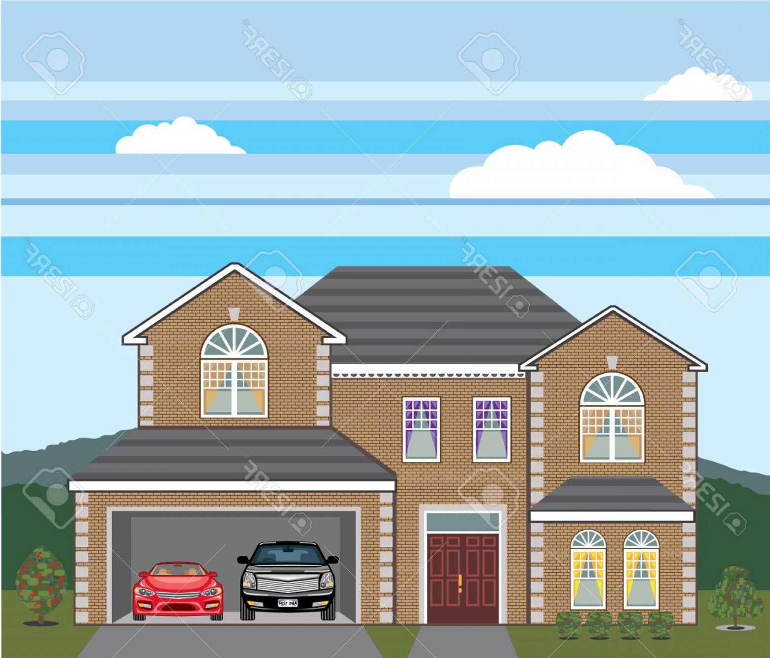 Car Vector Front Elevation: Photostock Vector Home Open Garage Two Cars Vector Illustration