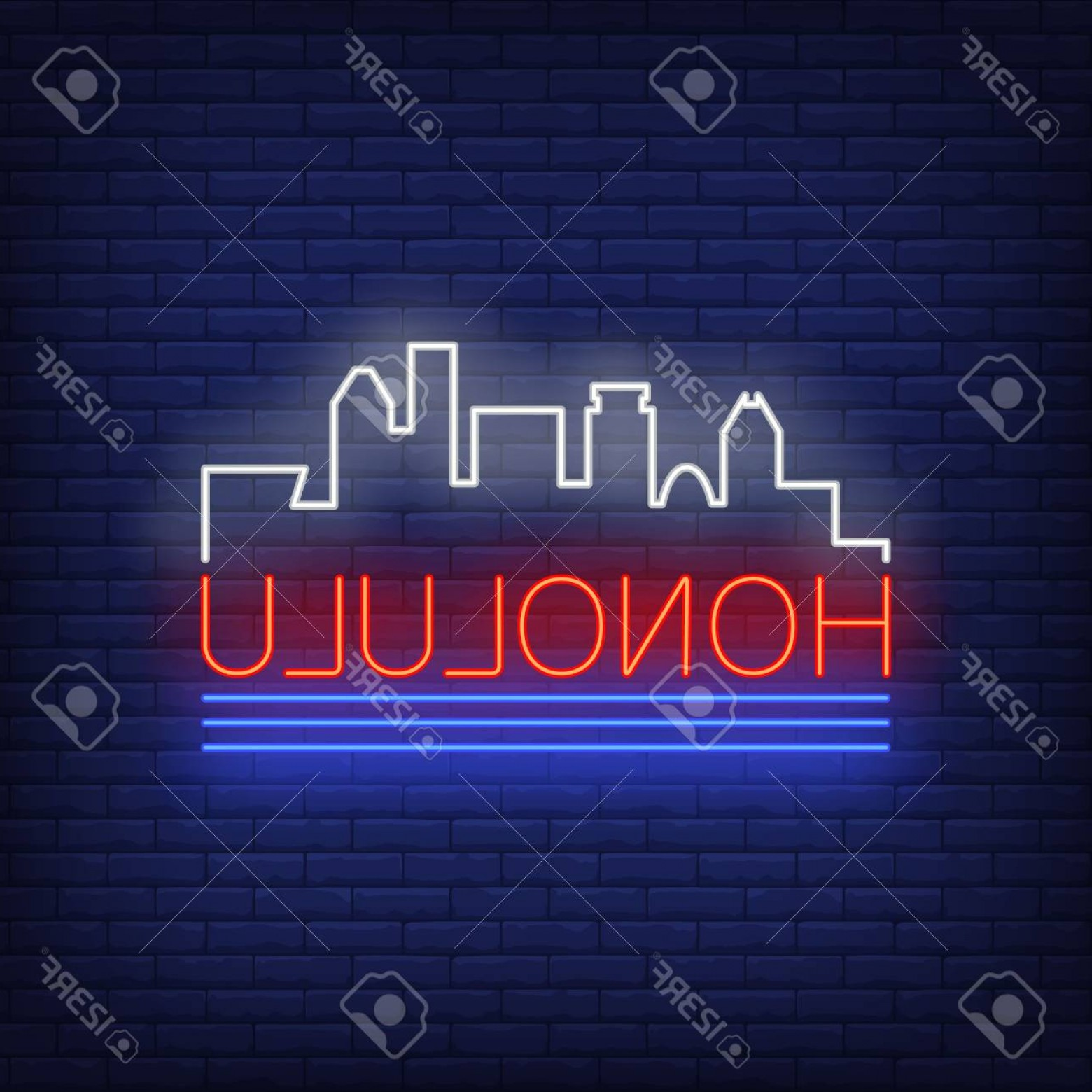 City Of Honolulu At Night Vector: Photostock Vector Honolulu Neon Lettering And City Buildings Silhouette Sightseeing Tourism Travel Design Night Bright