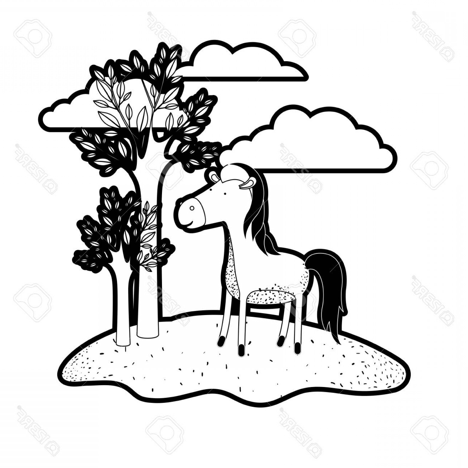 Black Horse Vector Scene: Photostock Vector Horse Cartoon In Outdoor Scene With Trees And Clouds In Black Silhouette With Thick Contour Vector I