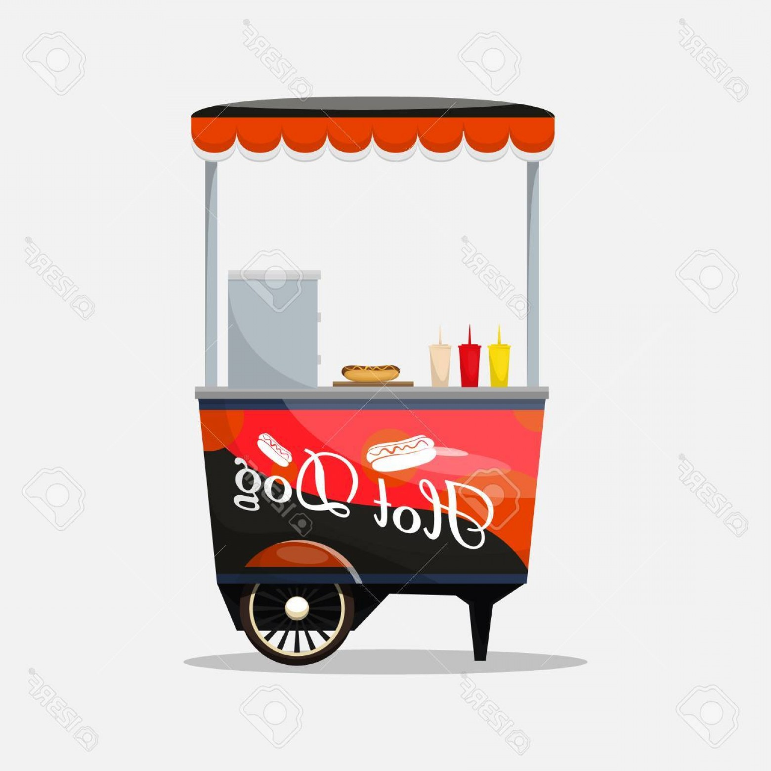 Hot Wheels Vector Art: Photostock Vector Hot Dog Cart Kiosk On Wheels Retailers Fast Snack Breakfast Fast Food And Flat Style Isolated On Whi