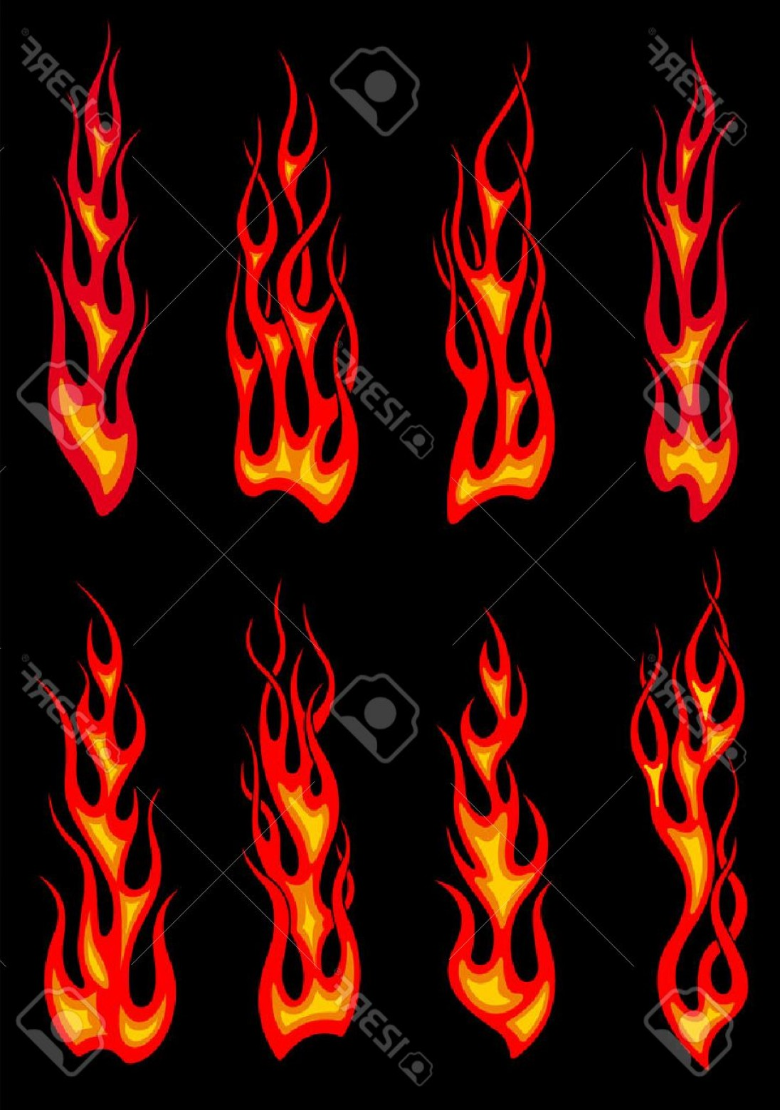 Tribal Flames Vector Car: Photostock Vector Hot Orange Tribal Fire Flames Isolated On Black Background For Tattoo Or Car And Motorcycle Decorati