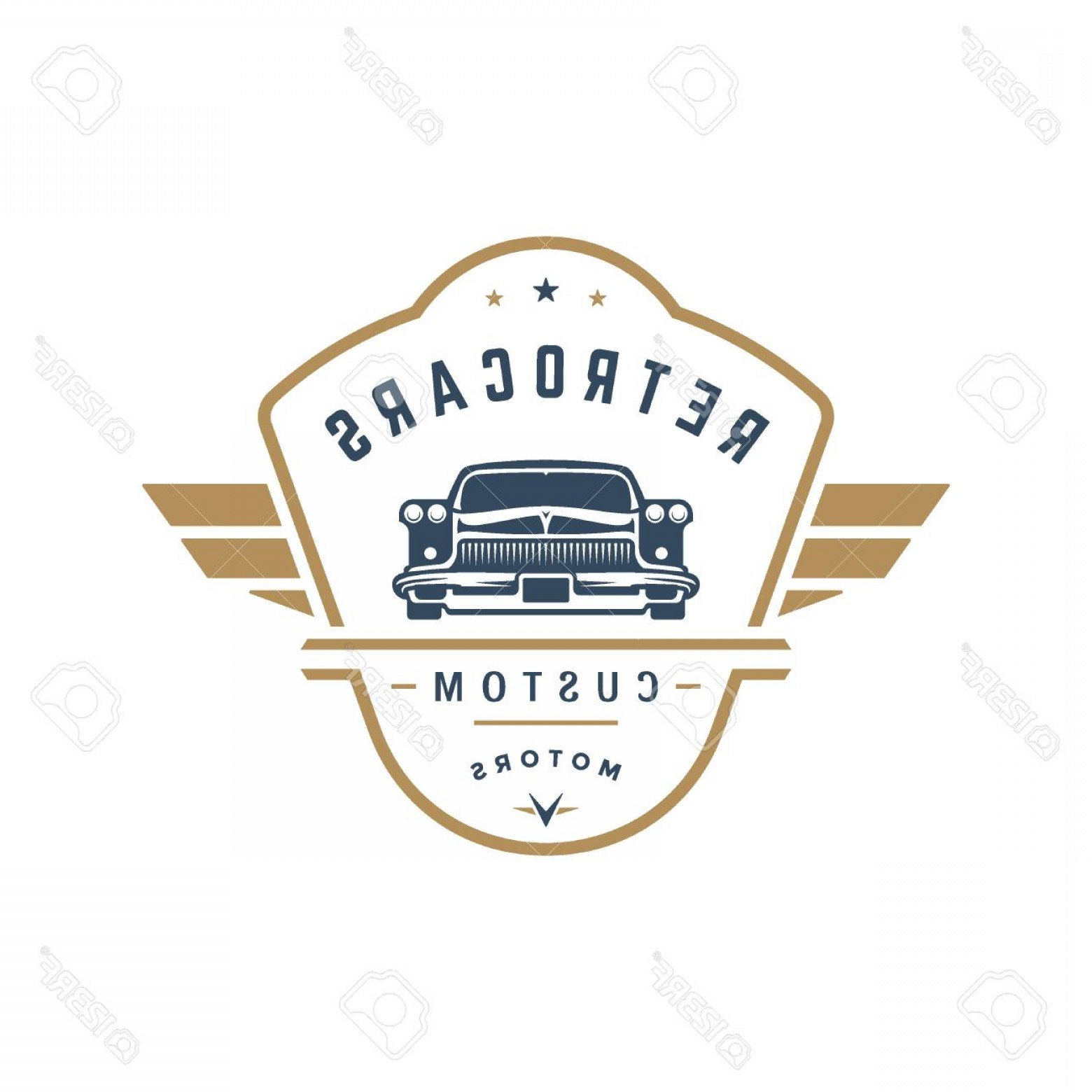 Custom Police Cars Vector: Photostock Vector Hot Rod Car Logo Template Vector Design Element Vintage Style