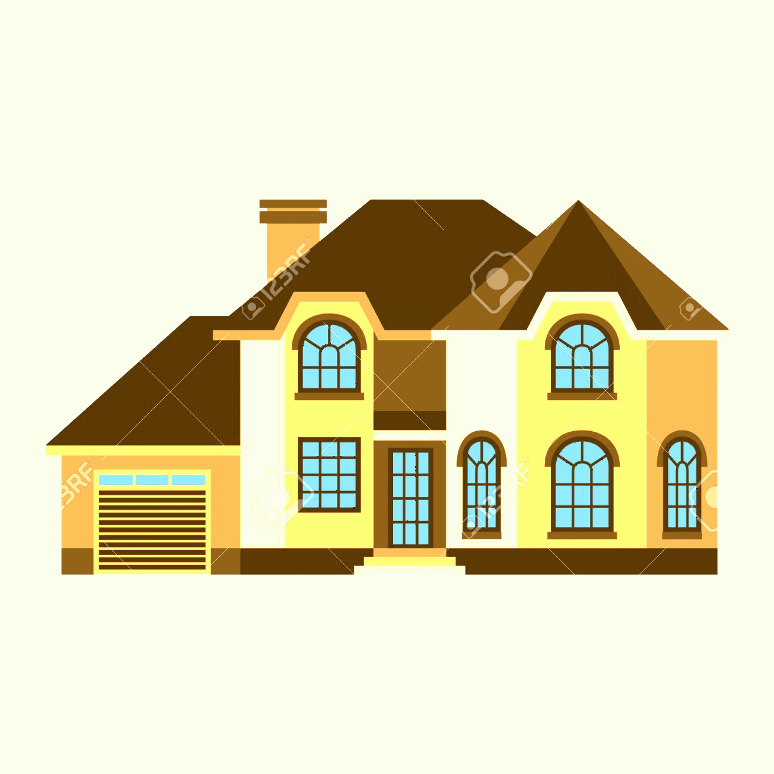Flat Vector House: Photostock Vector House Front View Vector Illustration Houses Flat Style Modern Constructions Vector House Front Facad