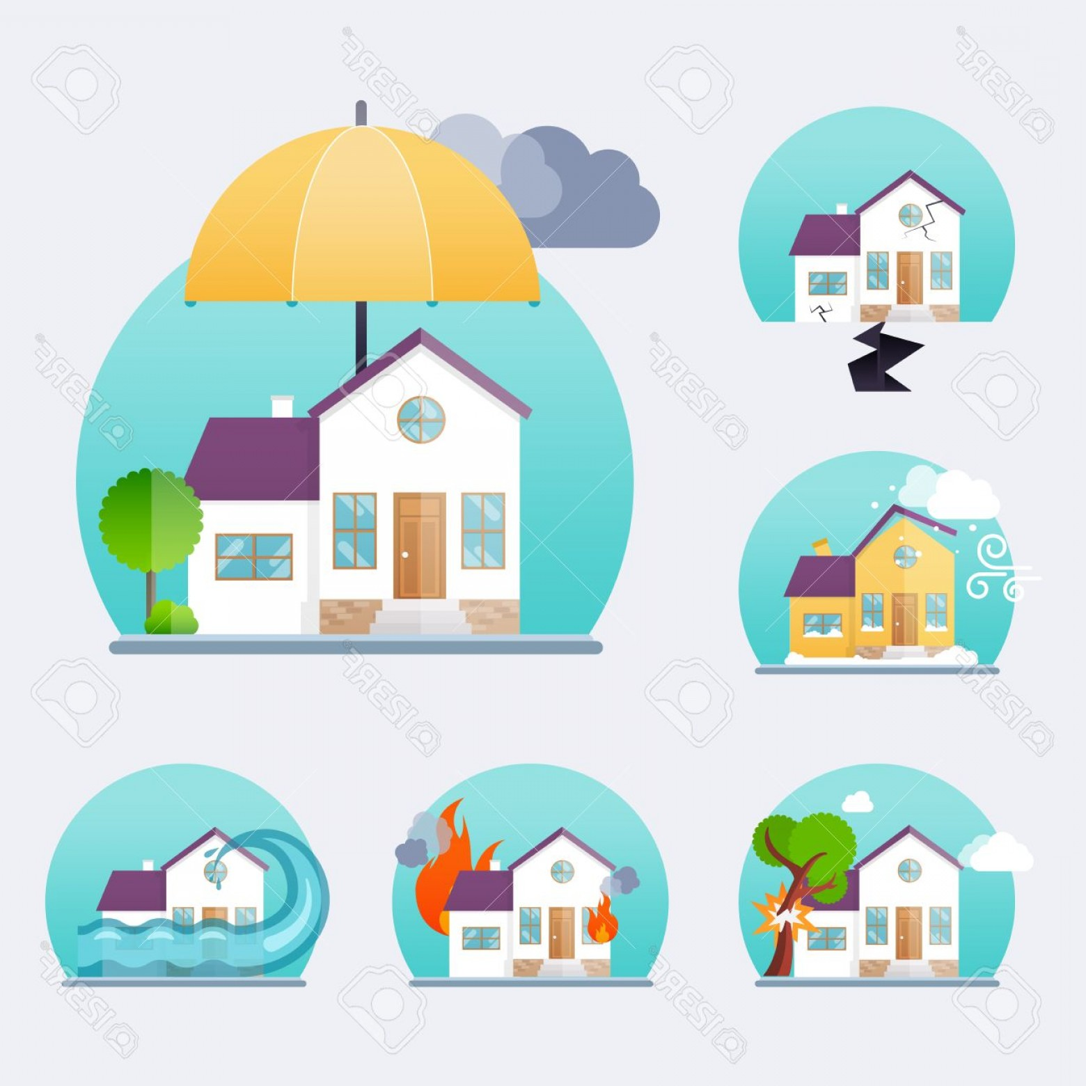 Vector Insurance: Photostock Vector House Insurance Business Service Icons Template Property Insurance Big Set House Insurance Vector Il
