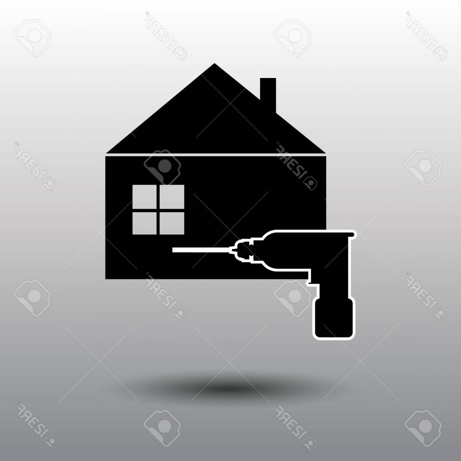 Vector House Sign: Photostock Vector House Repair Logo House Real Estate Construction Building Logo House Vector Tools Icon Repairs House