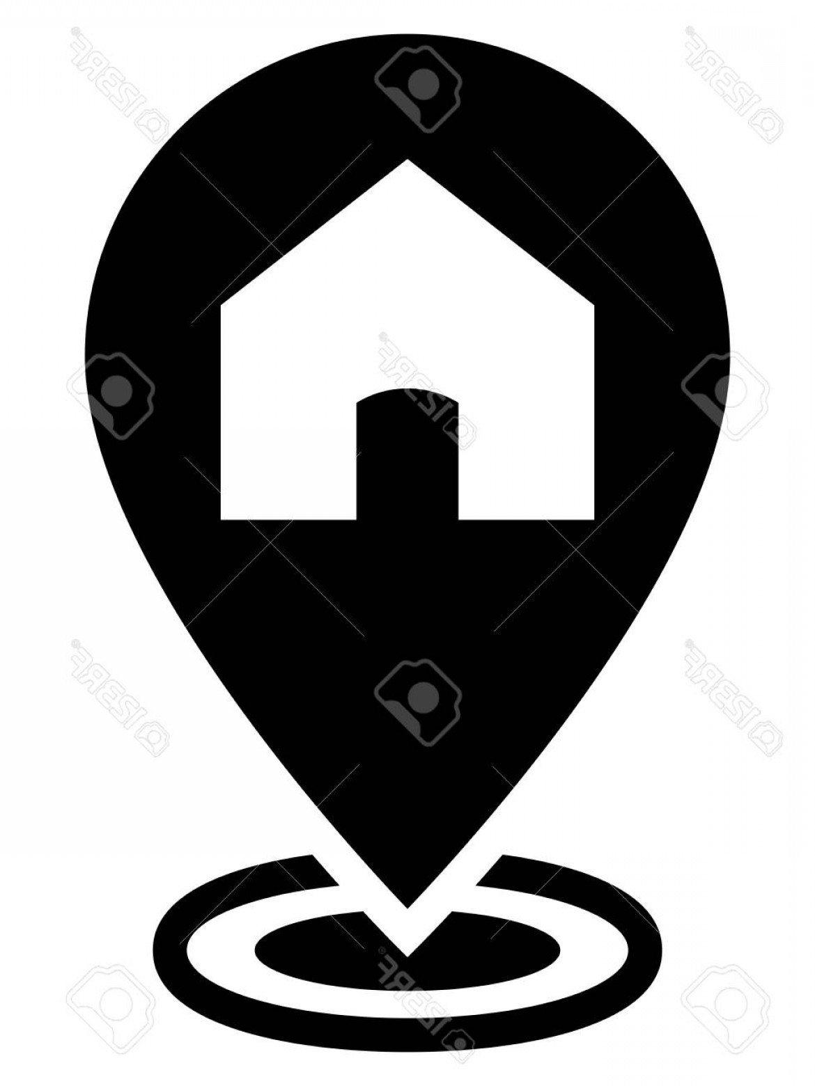 Vector House Sign: Photostock Vector House Sign On Map Marker Showing Home Location On Map
