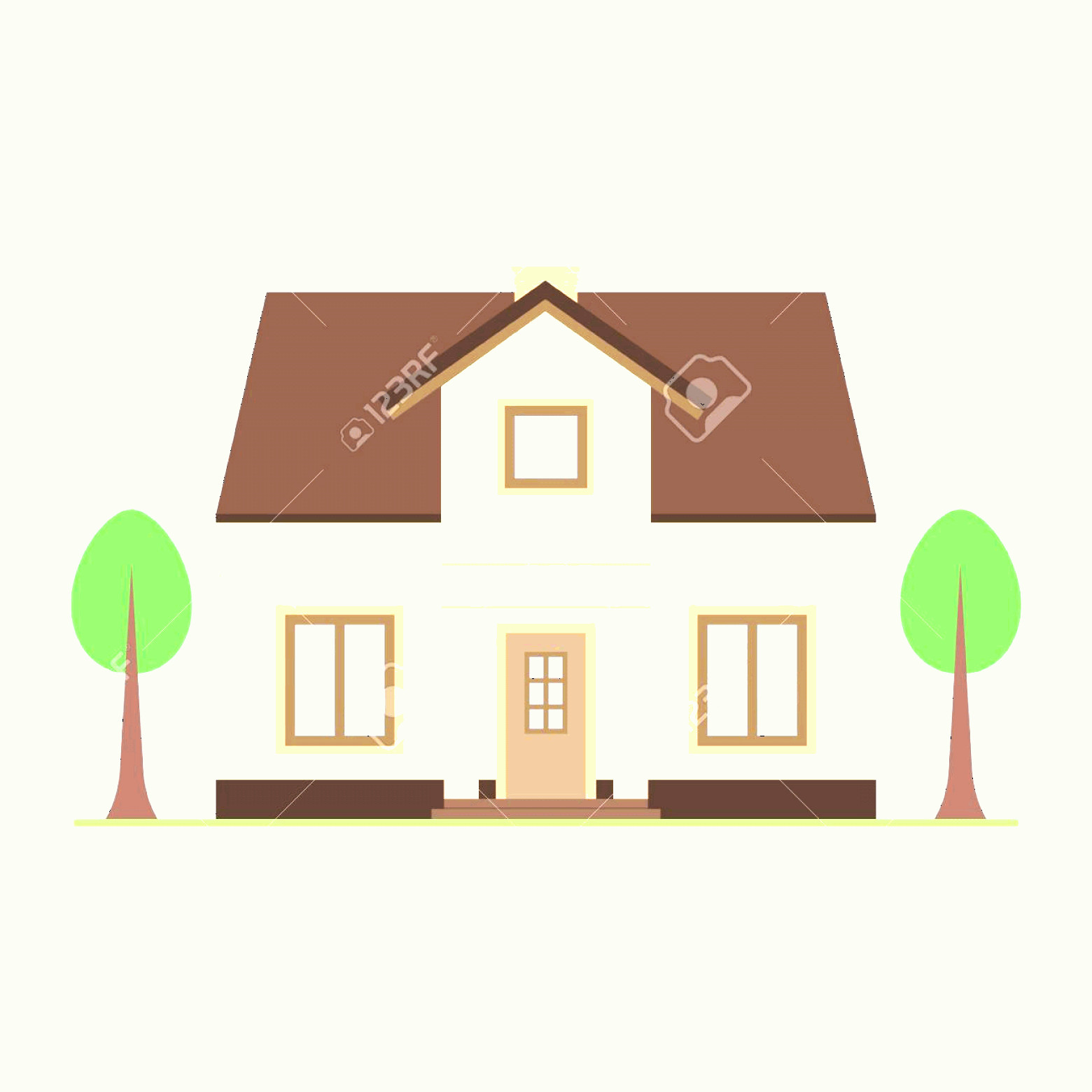 Flat Vector House: Photostock Vector House Vector Illustration Flat Style Modern Buildings Vector Illustration