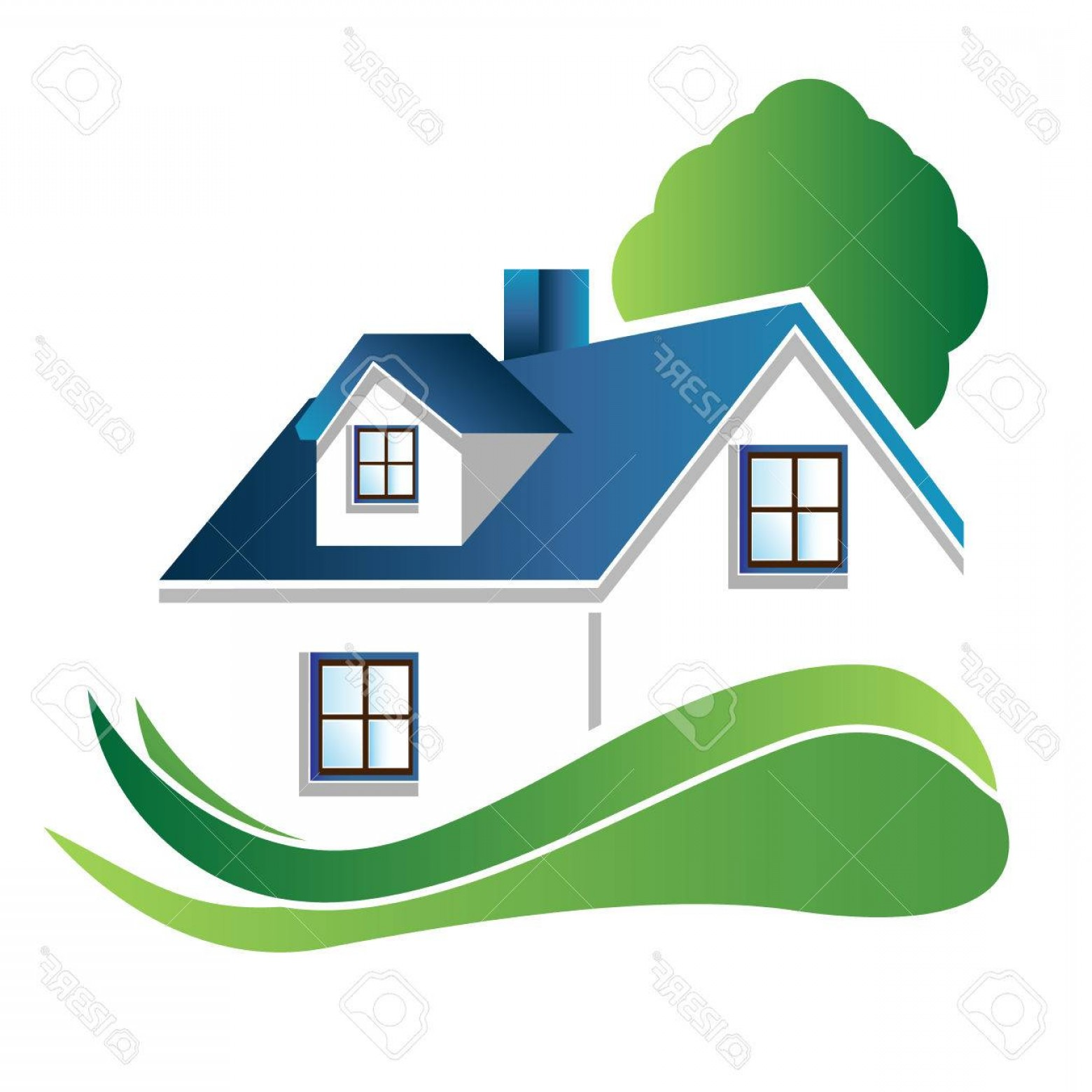 Dell Logo Vector: Photostock Vector House With Tree Real Estate Image Logo Vector Design