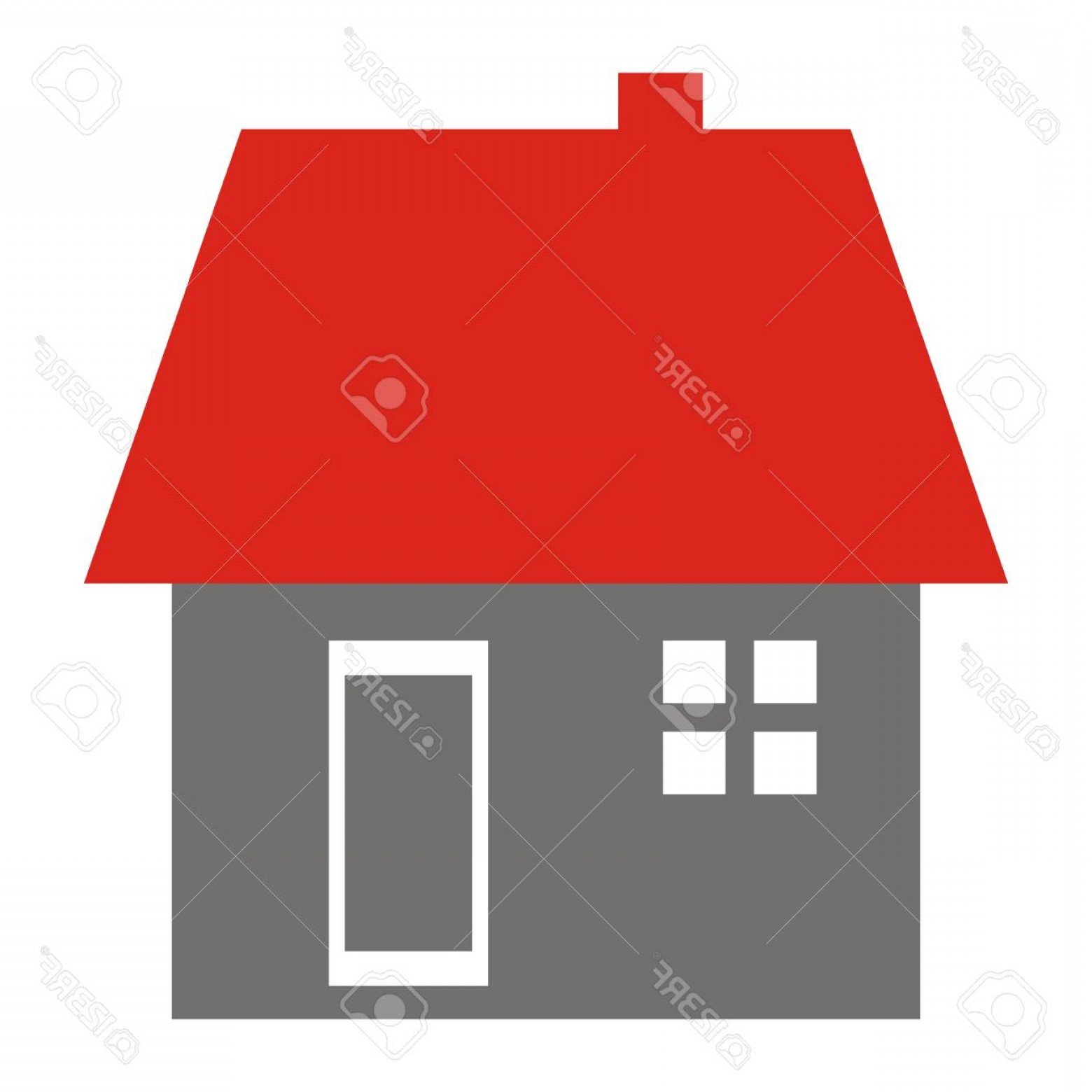 Vector Smokestack: Photostock Vector House With Window Door Roof And Smokestack Vector Icon Isolated Object Red Roof And Gray Facade With